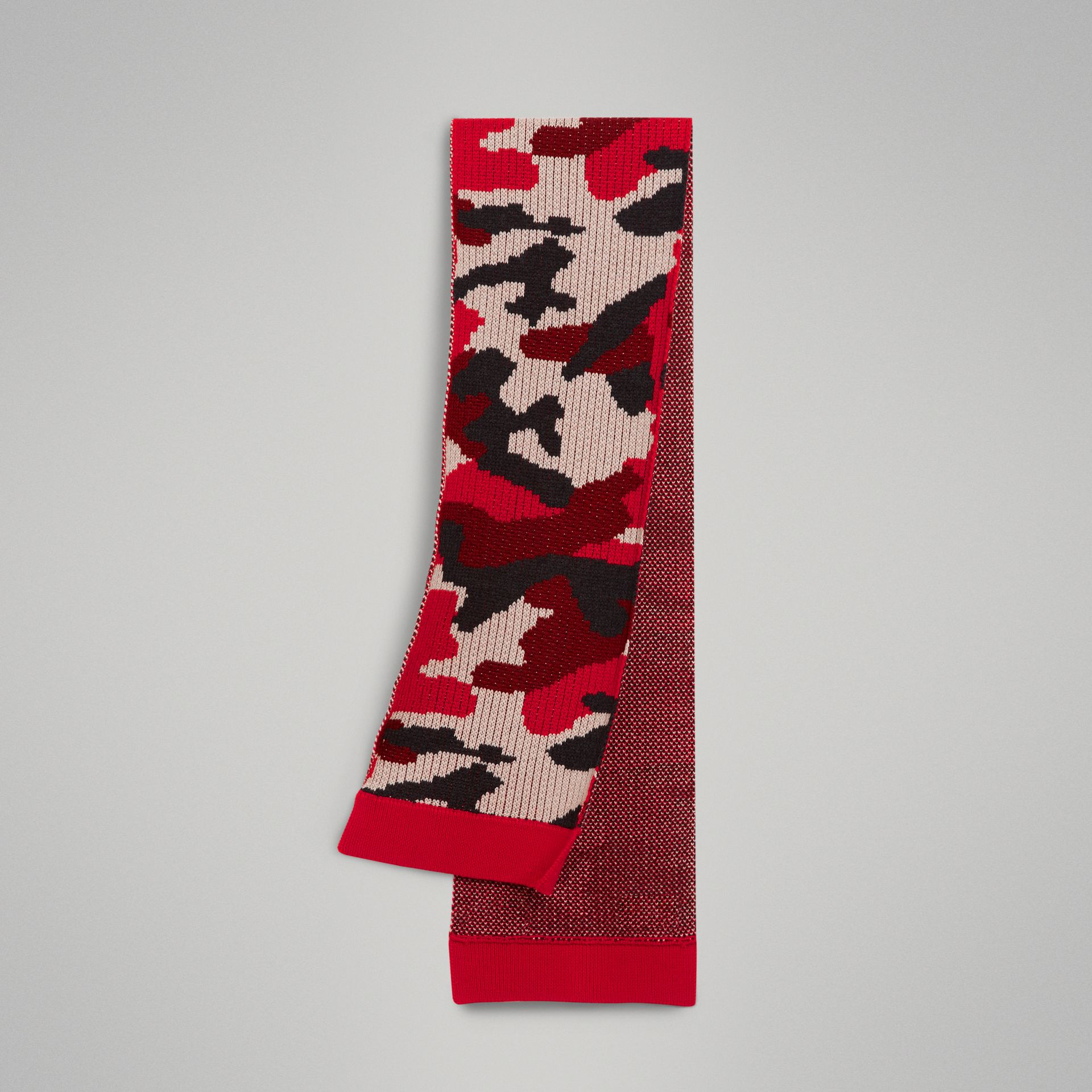 Camouflage Merino Wool Scarf in Bright Red | Burberry United Kingdom - gallery image 0