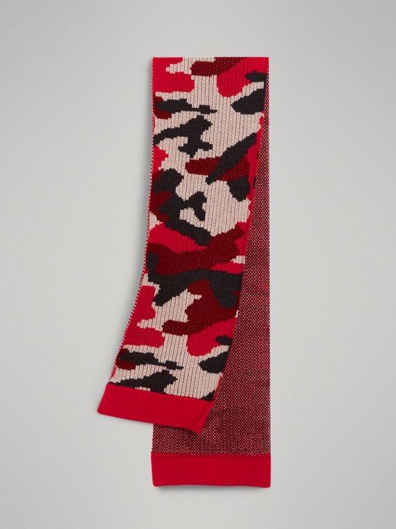 Camouflage Merino Wool Scarf in Bright Red