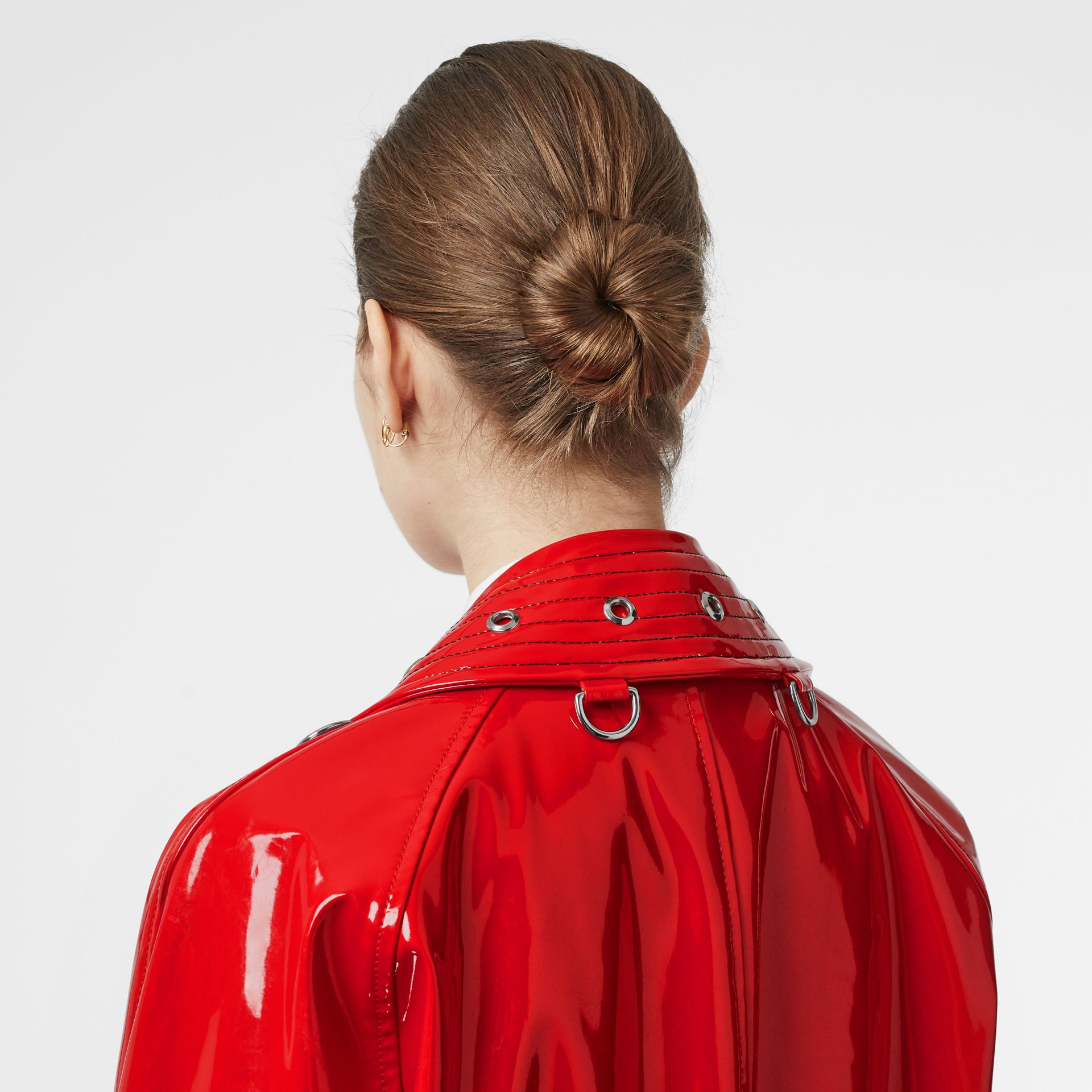 Belt Detail Laminated Car Coat in Bright Red - Women | Burberry - gallery image 5