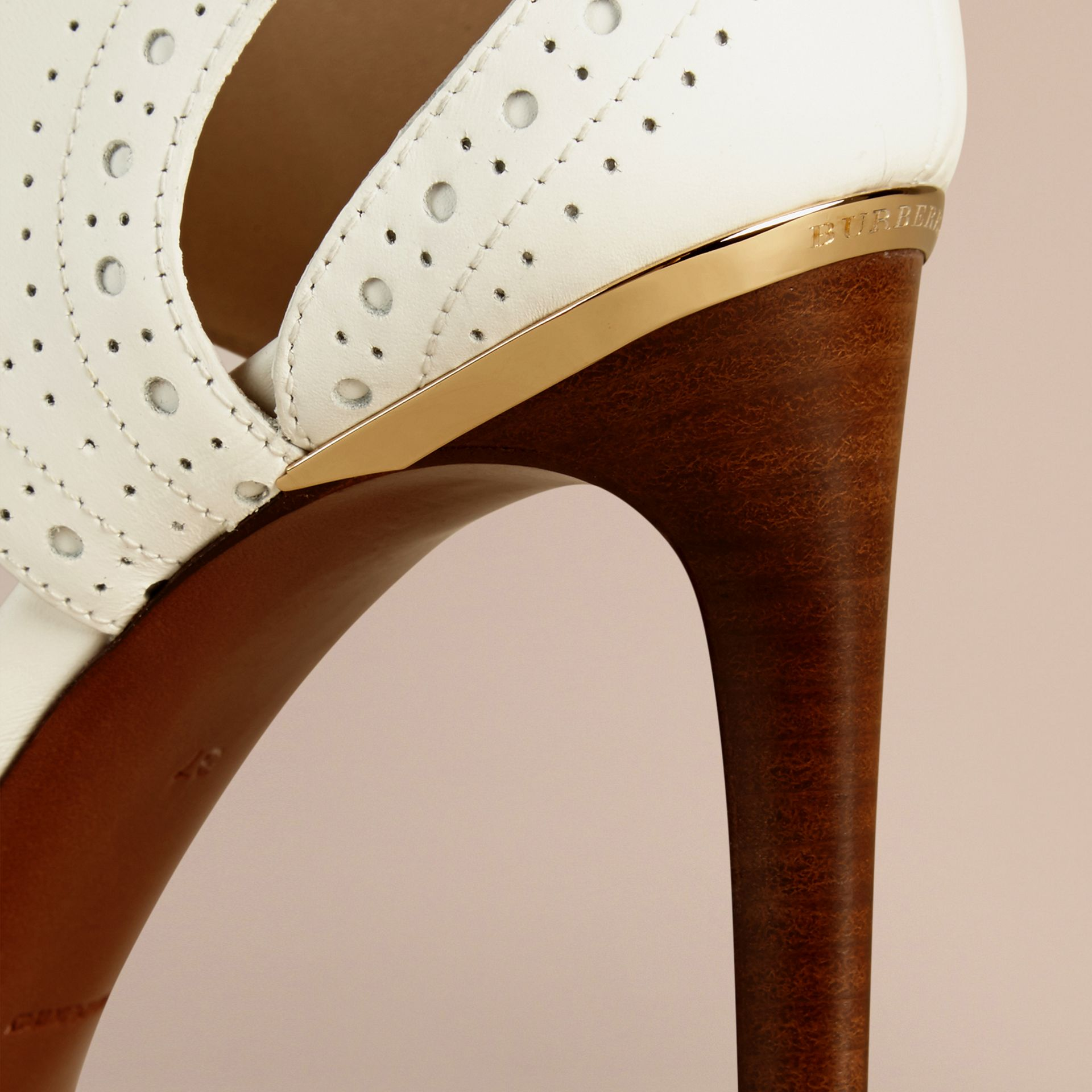 Optic white Perforated Detail Lace-up Leather Sandals - gallery image 2