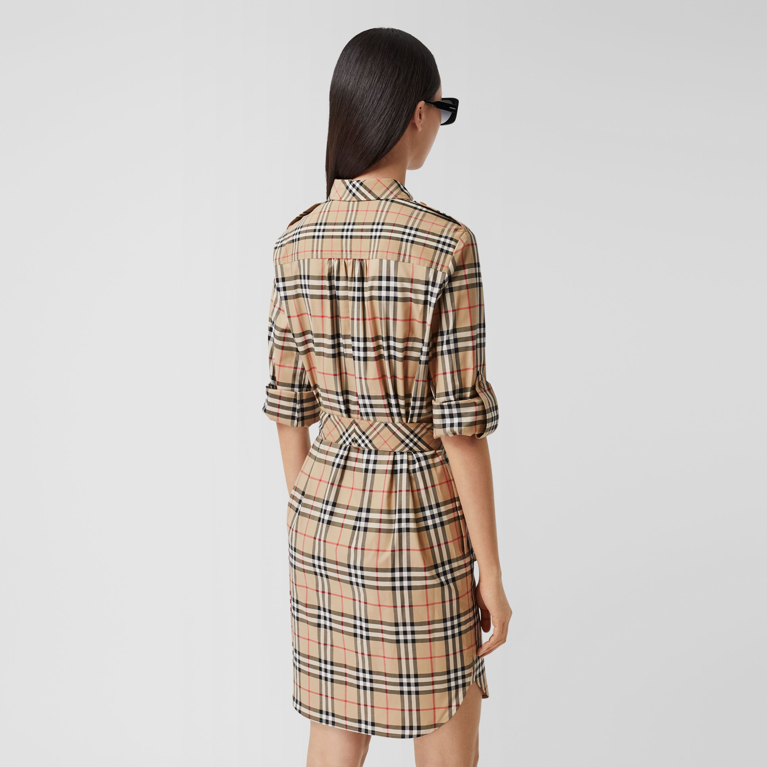 Contrast Check Stretch Cotton Tie-waist Shirt Dress in Archive Beige - Women | Burberry - 3