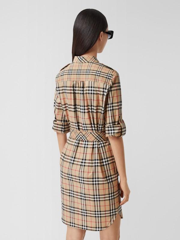 Logo Appliqué Check Cotton Tie-waist Shirt Dress in Archive Beige - Women   Burberry - cell image 2