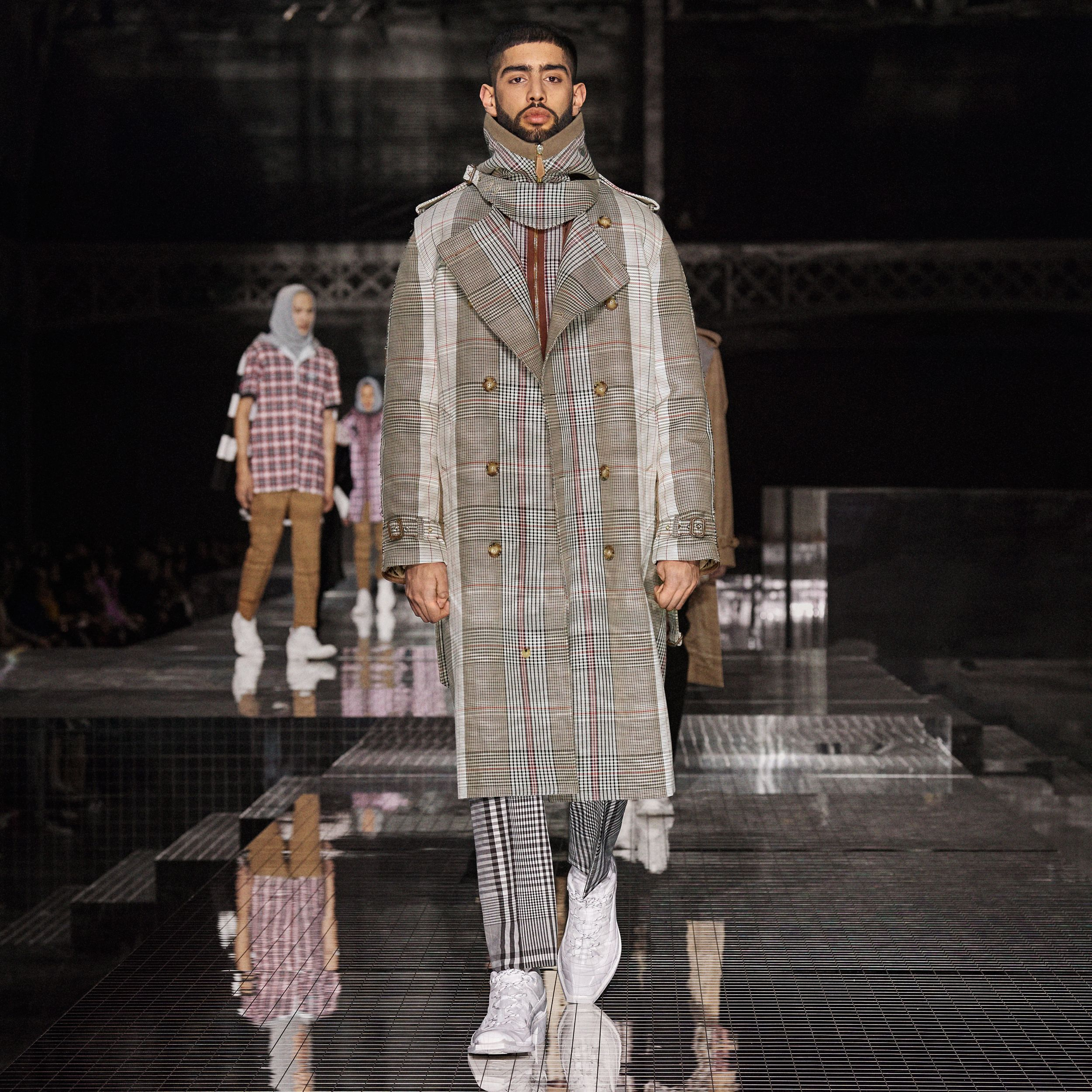 Quilted Panel Check Wool Cotton Trench Coat in Beige - Men | Burberry Hong Kong S.A.R. - 3