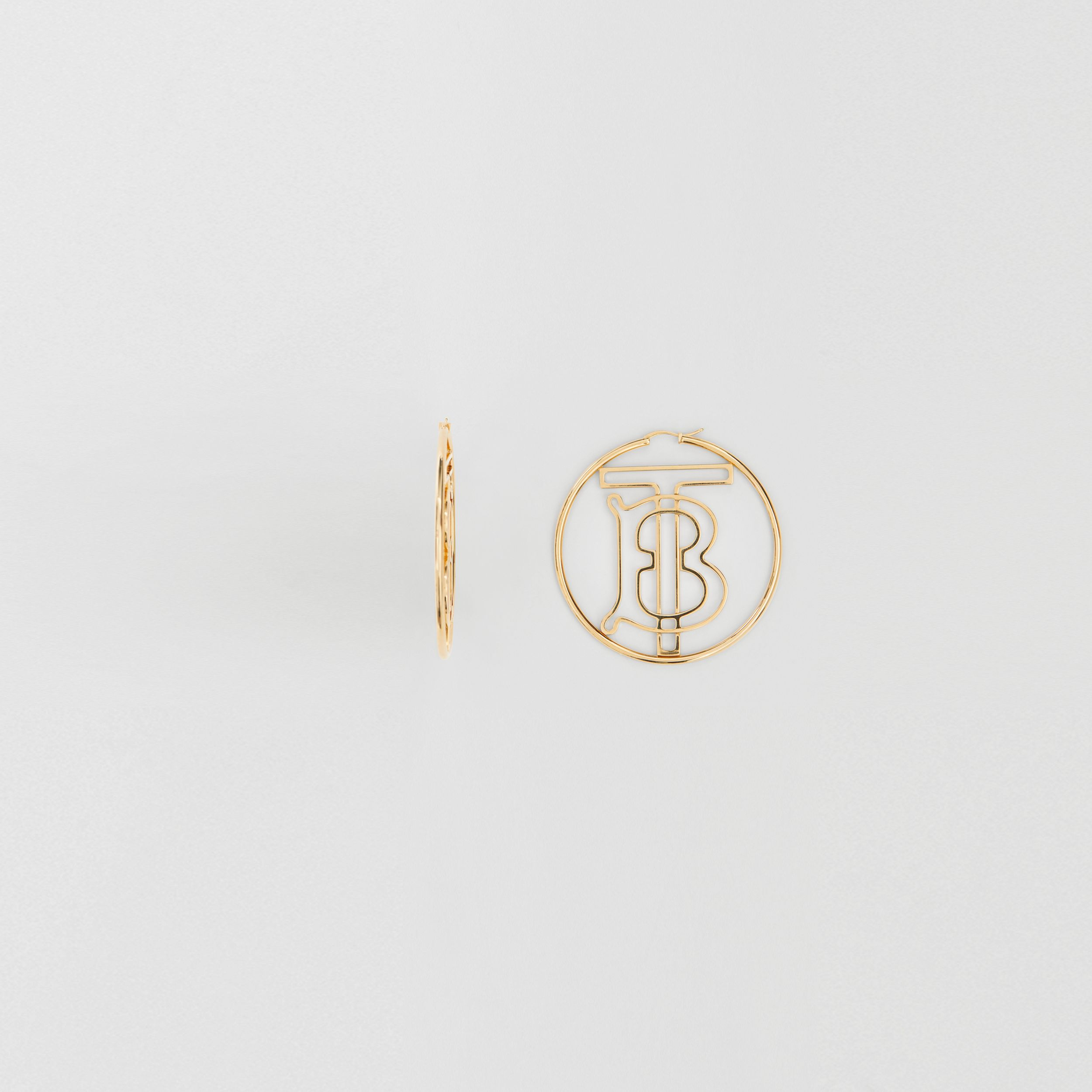 Gold-plated Monogram Motif Hoop Earrings in Light - Women | Burberry - 3