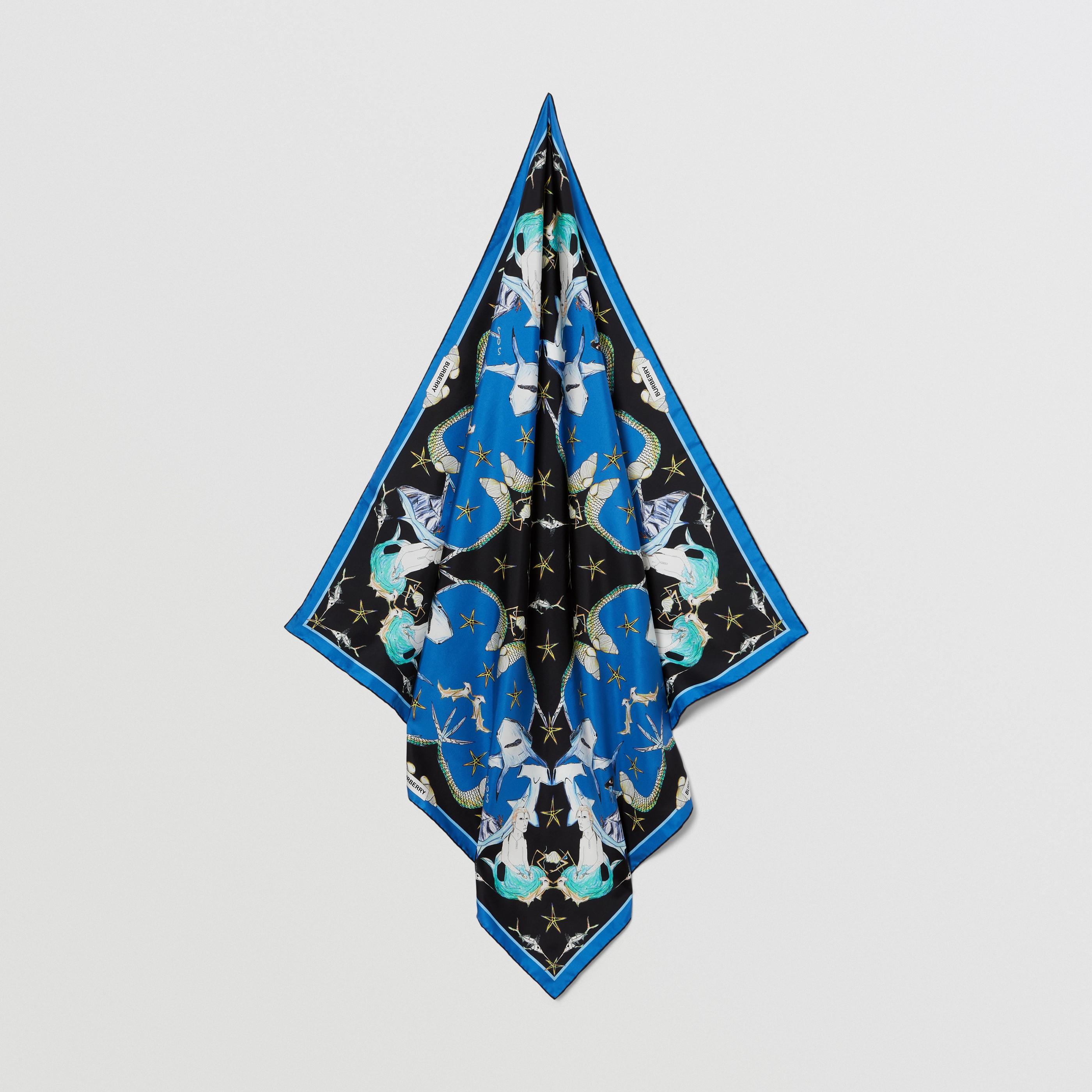 Foulard in seta con motivo marino (Celeste) | Burberry - 5