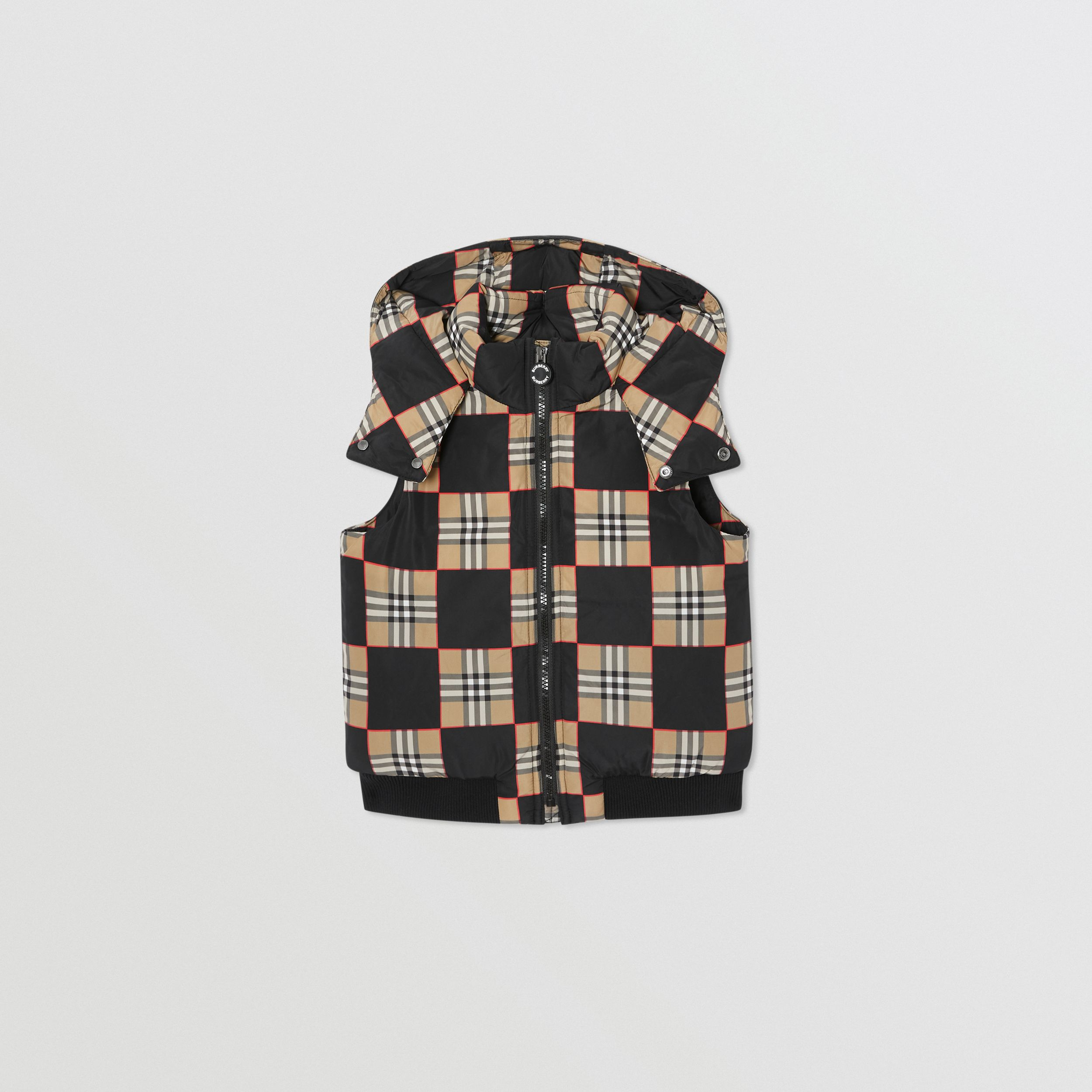 Chequer Print Puffer Gilet in Archive Beige | Burberry - 1