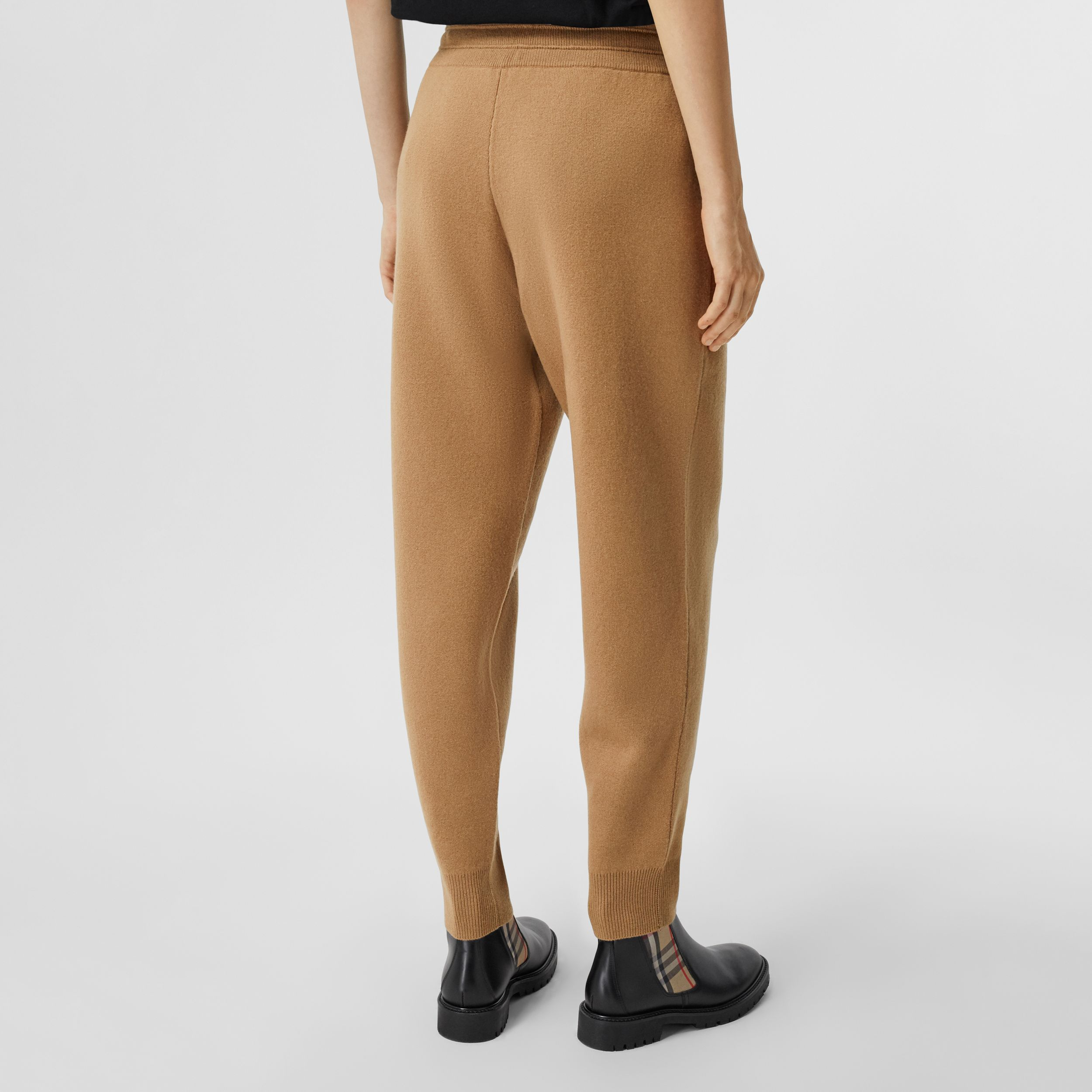 Monogram Motif Cashmere Blend Jogging Pants in Camel - Women | Burberry - 3