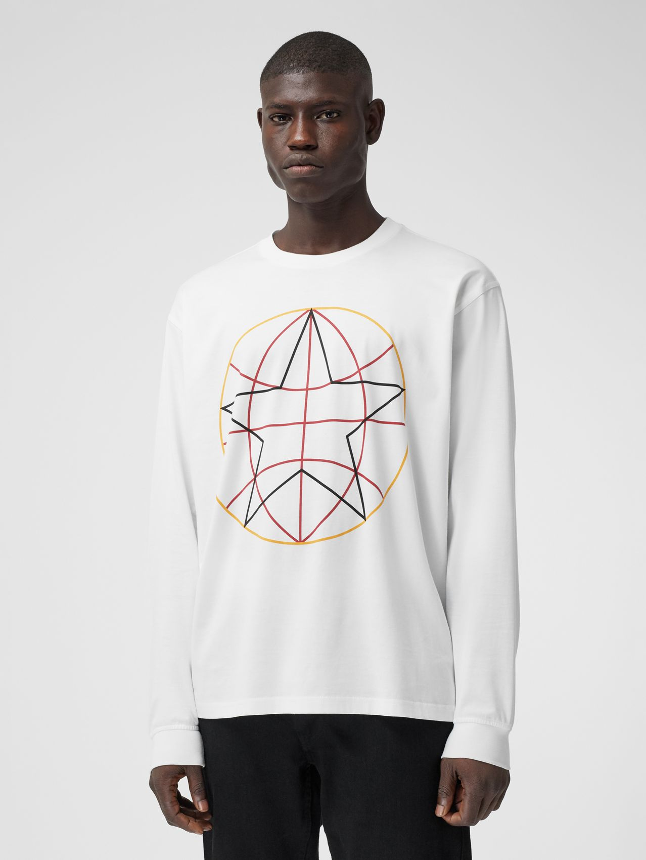 Long-sleeve Globe Graphic Cotton Oversized Top in White