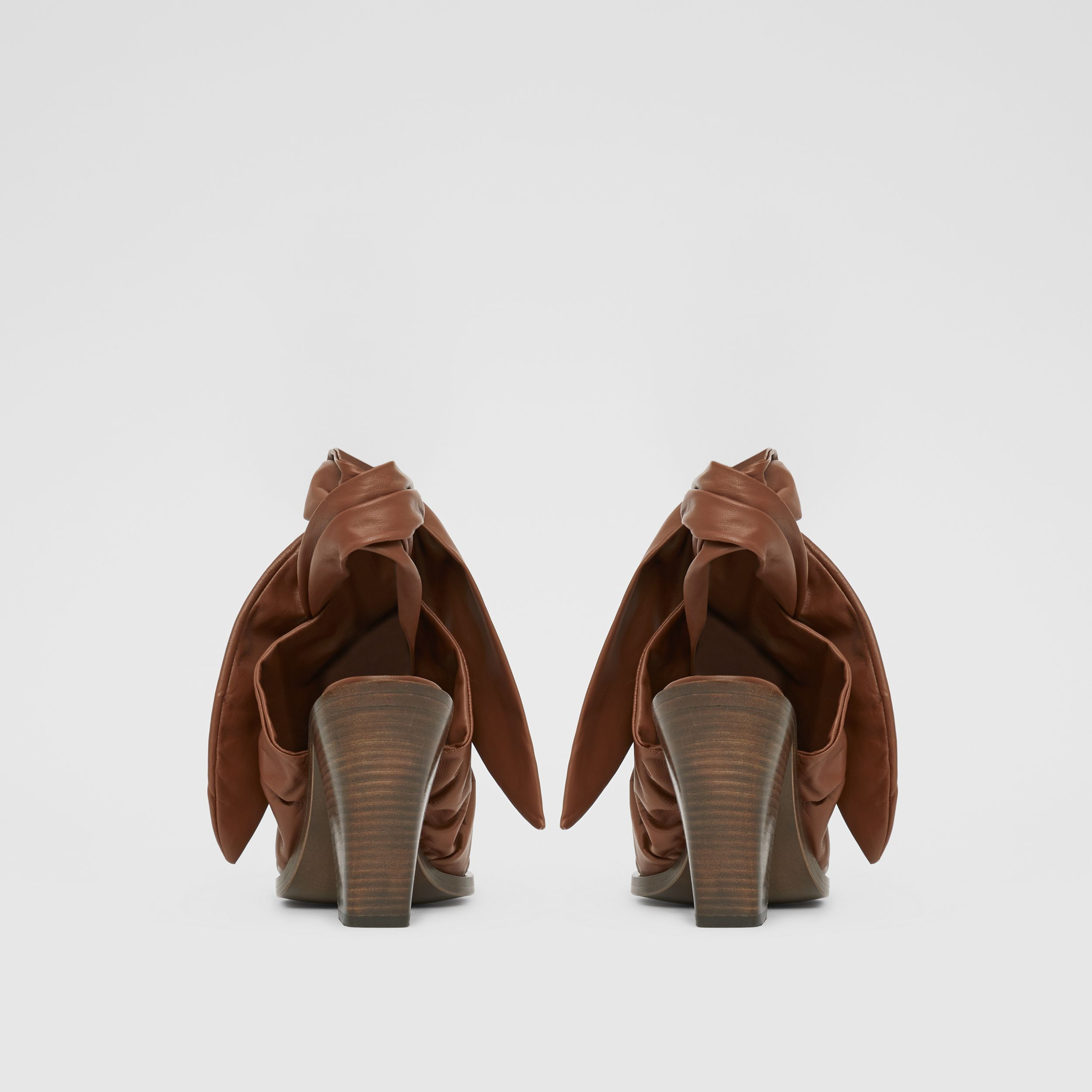 Scarf Tie Detail Lambskin Point-toe Mules in Tan - Women | Burberry - 4