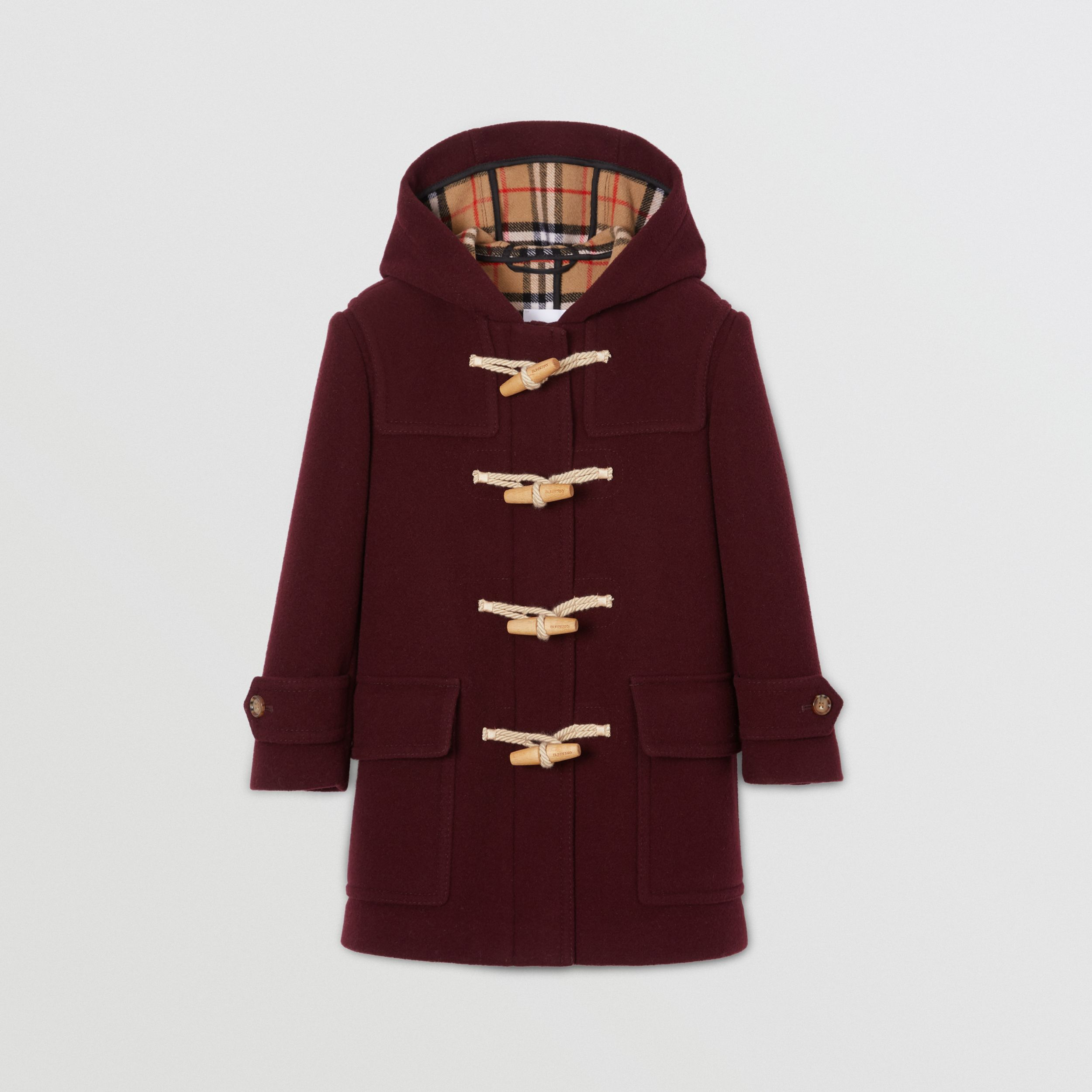 Double-faced Wool Duffle Coat in Burgundy | Burberry Singapore - 1
