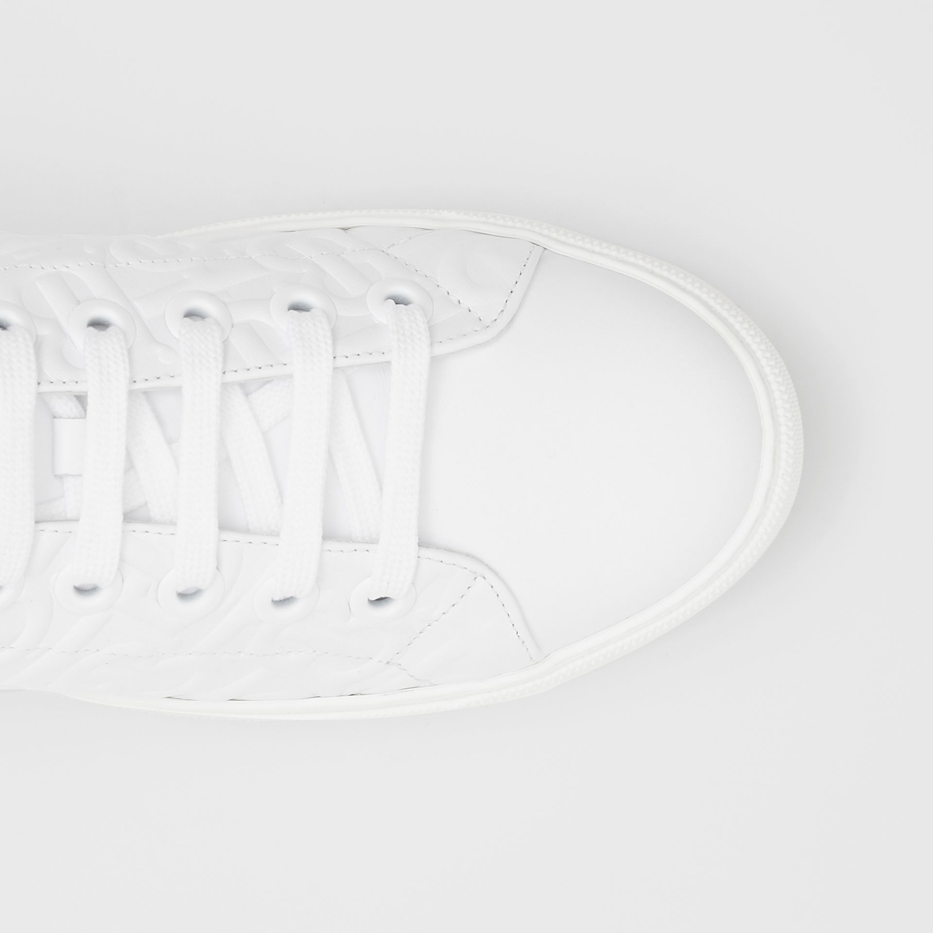 Monogram Leather Sneakers in White - Women | Burberry - gallery image 1
