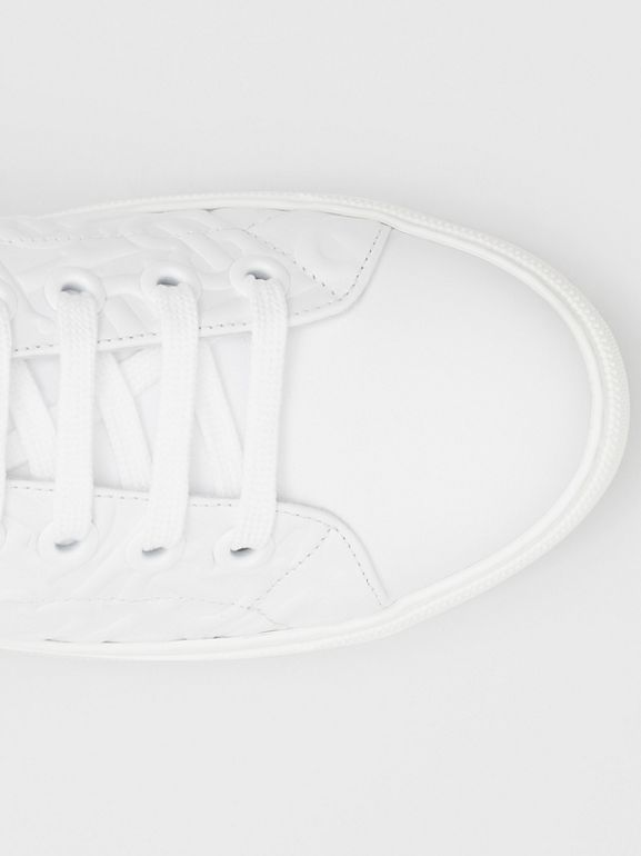 Monogram Leather Sneakers in White - Women | Burberry - cell image 1