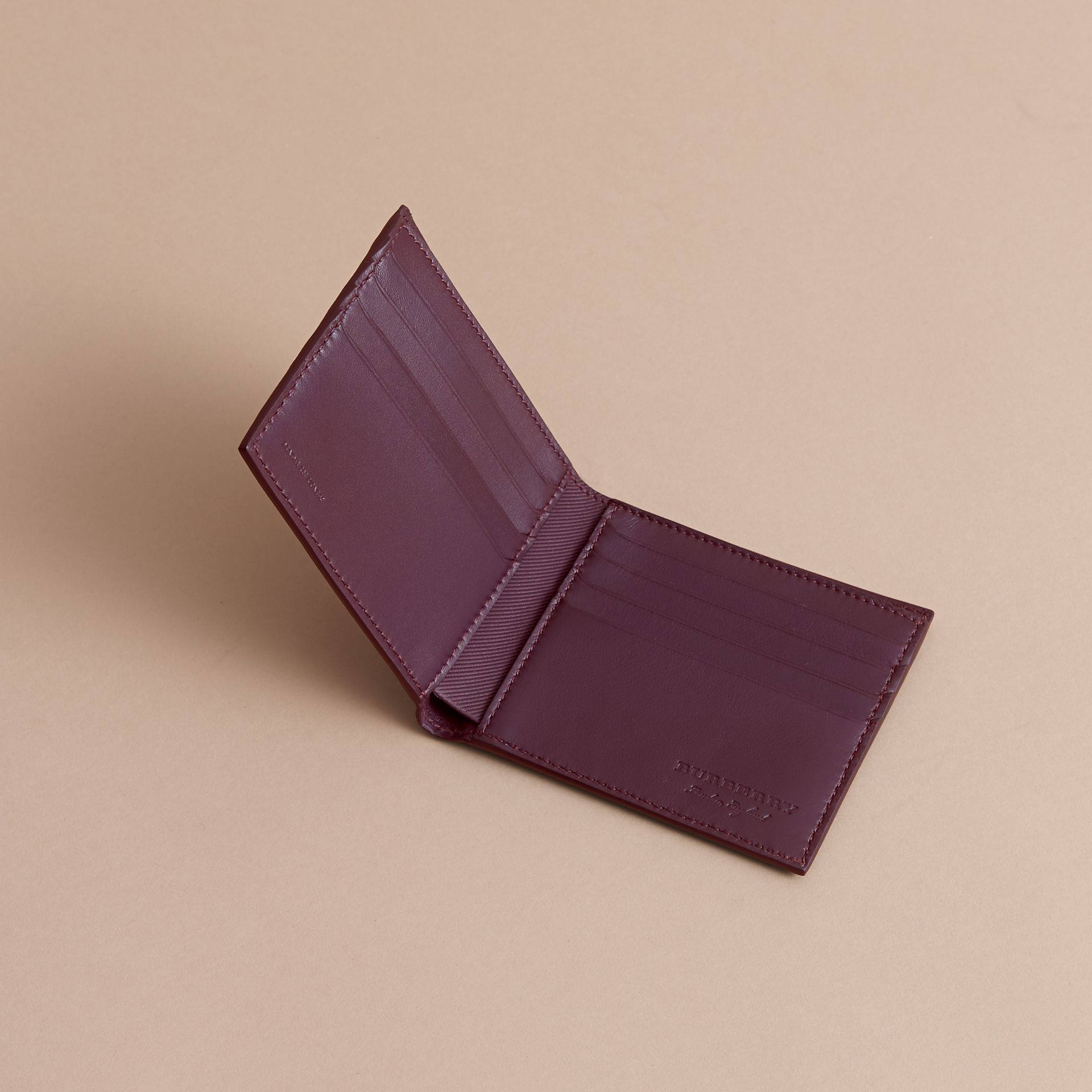 Trench Leather International Bifold Wallet in Wine - Men | Burberry Australia - gallery image 5