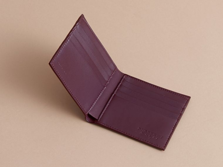 Trench Leather International Bifold Wallet in Wine - Men | Burberry Australia - cell image 4