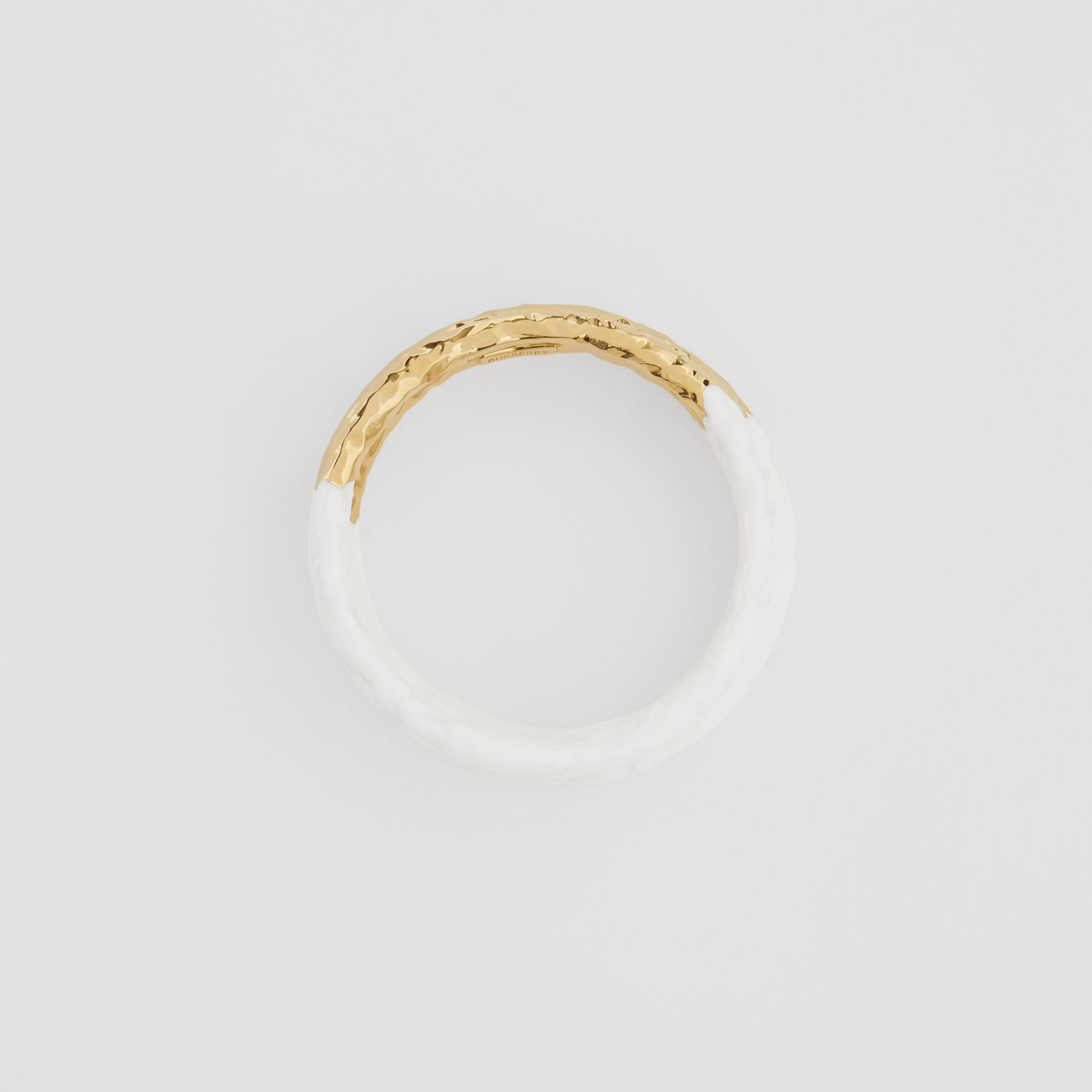 Enamel and Gold-plated Bangle in Light Gold/white - Women | Burberry Australia - 1