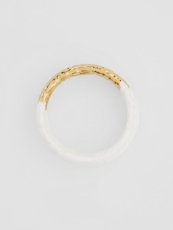 Enamel and Gold-plated Bangle in Light Gold/white