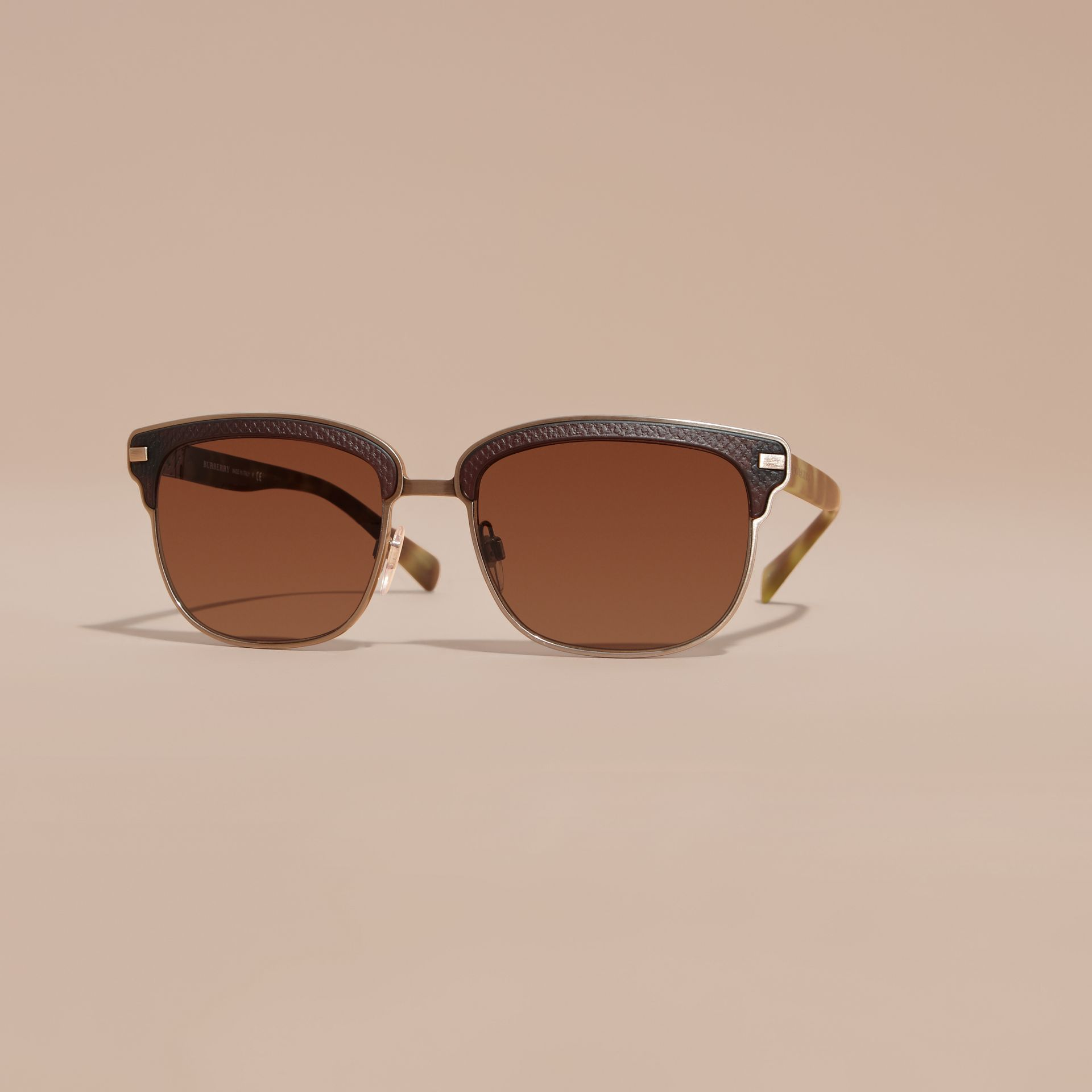Textured Front Square Frame Sunglasses in Brown - Men | Burberry Hong Kong - gallery image 2