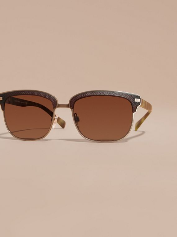 Brown Textured Front Square Frame Sunglasses Brown - cell image 2