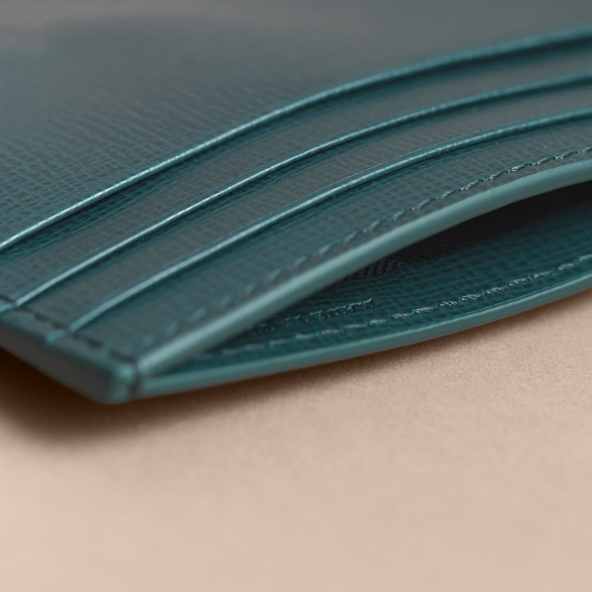 London Leather Money Clip Card Case in Dark Teal - Men | Burberry - gallery image 4