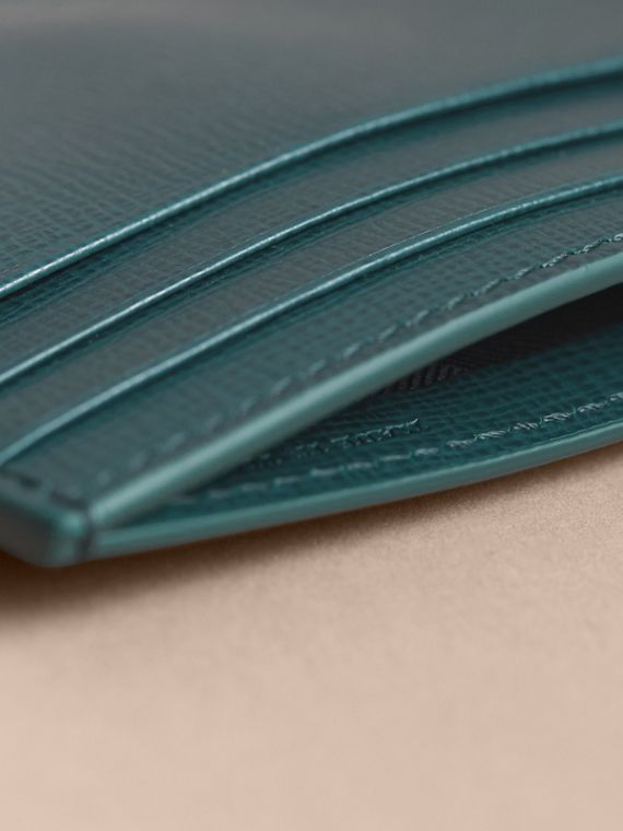 London Leather Money Clip Card Case in Dark Teal - Men | Burberry - cell image 3