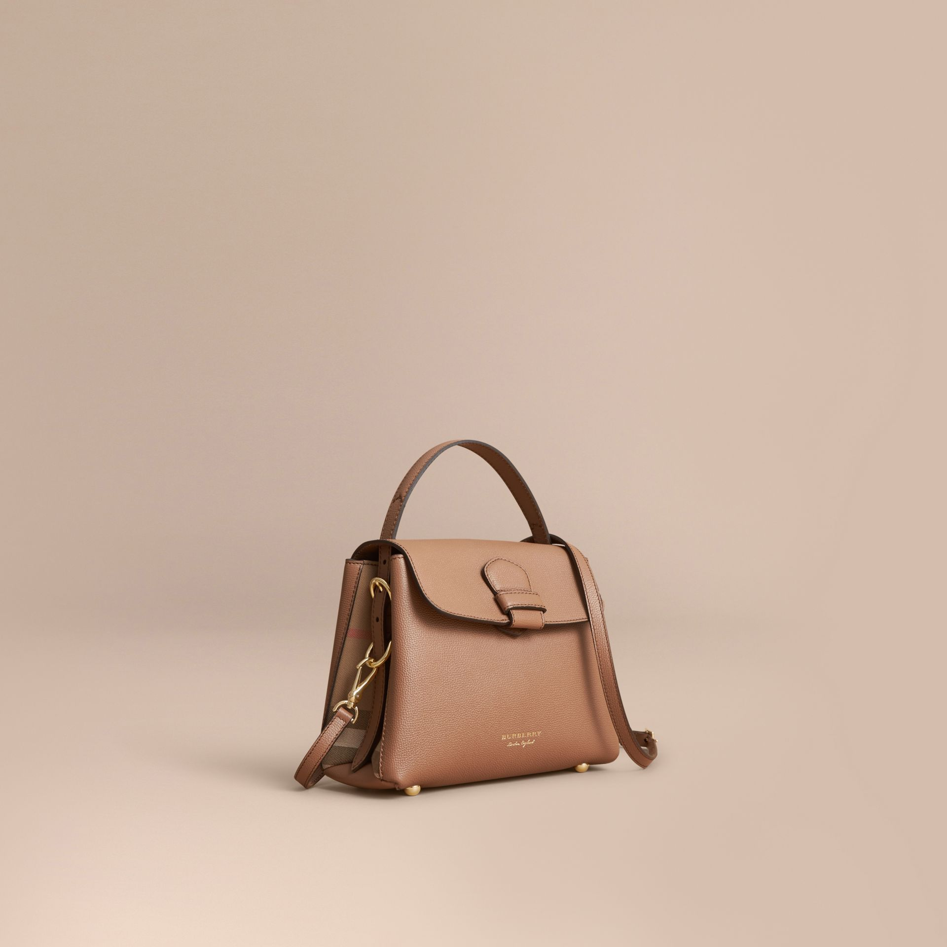 Small Grainy Leather and House Check Tote Bag in Dark Sand - gallery image 1