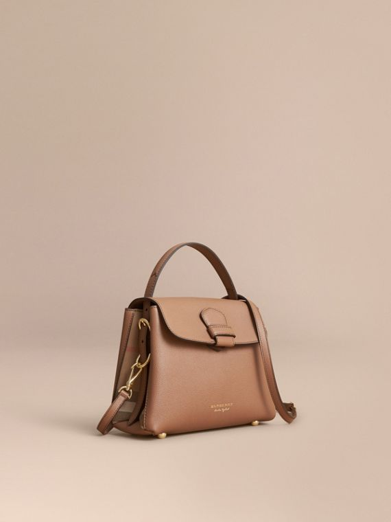 Small Grainy Leather and House Check Tote Bag Dark Sand