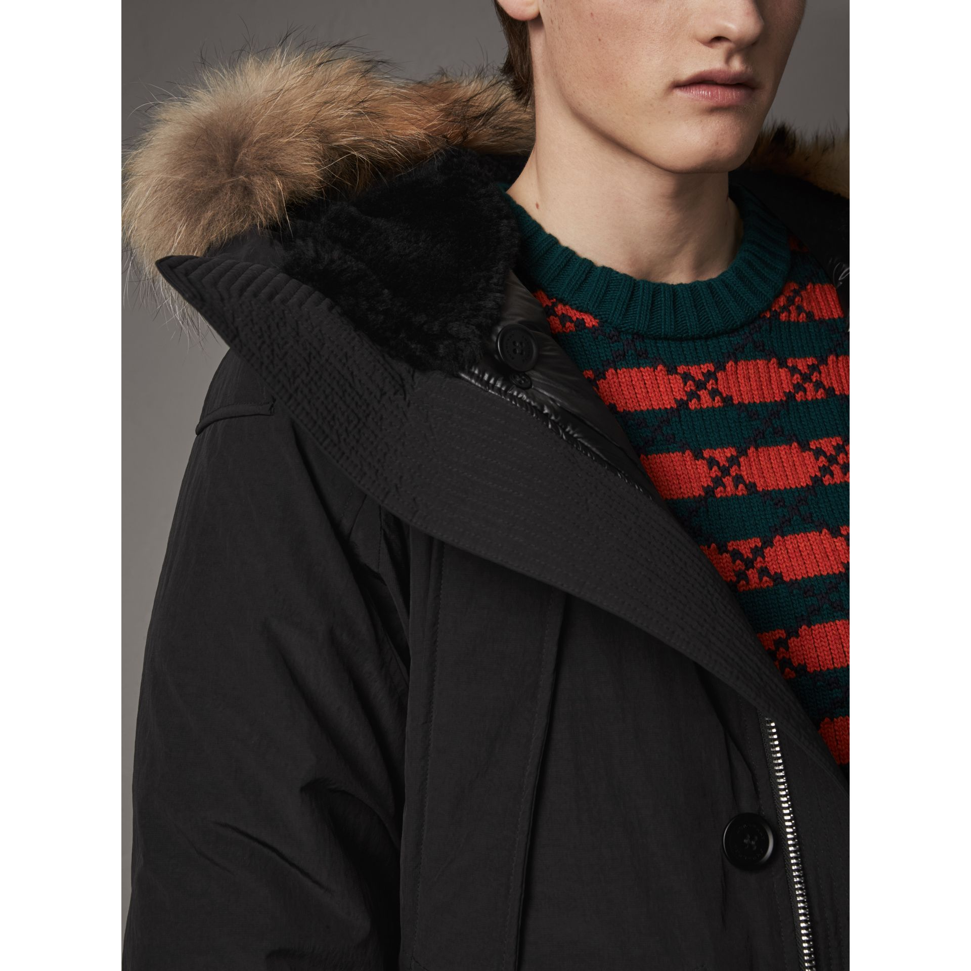 Raccoon Fur Trim Shearling Hood Down-filled Parka in Black - Men | Burberry Canada - gallery image 1