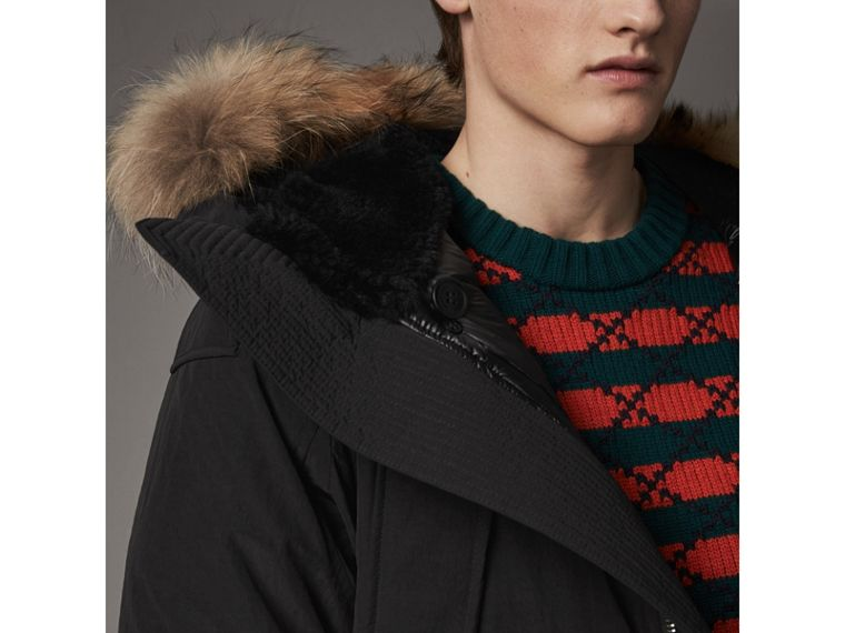 Raccoon Fur Trim Shearling Hood Down-filled Parka in Black - Men | Burberry United Kingdom - cell image 1