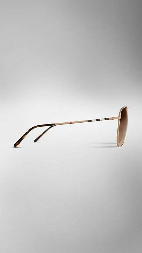 Pale gold Check Arm Aviator Sunglasses - Image 4