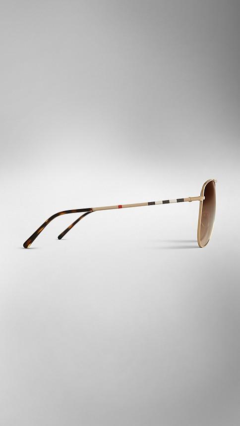Pale gold Check Arm Aviator Sunglasses - Image 4