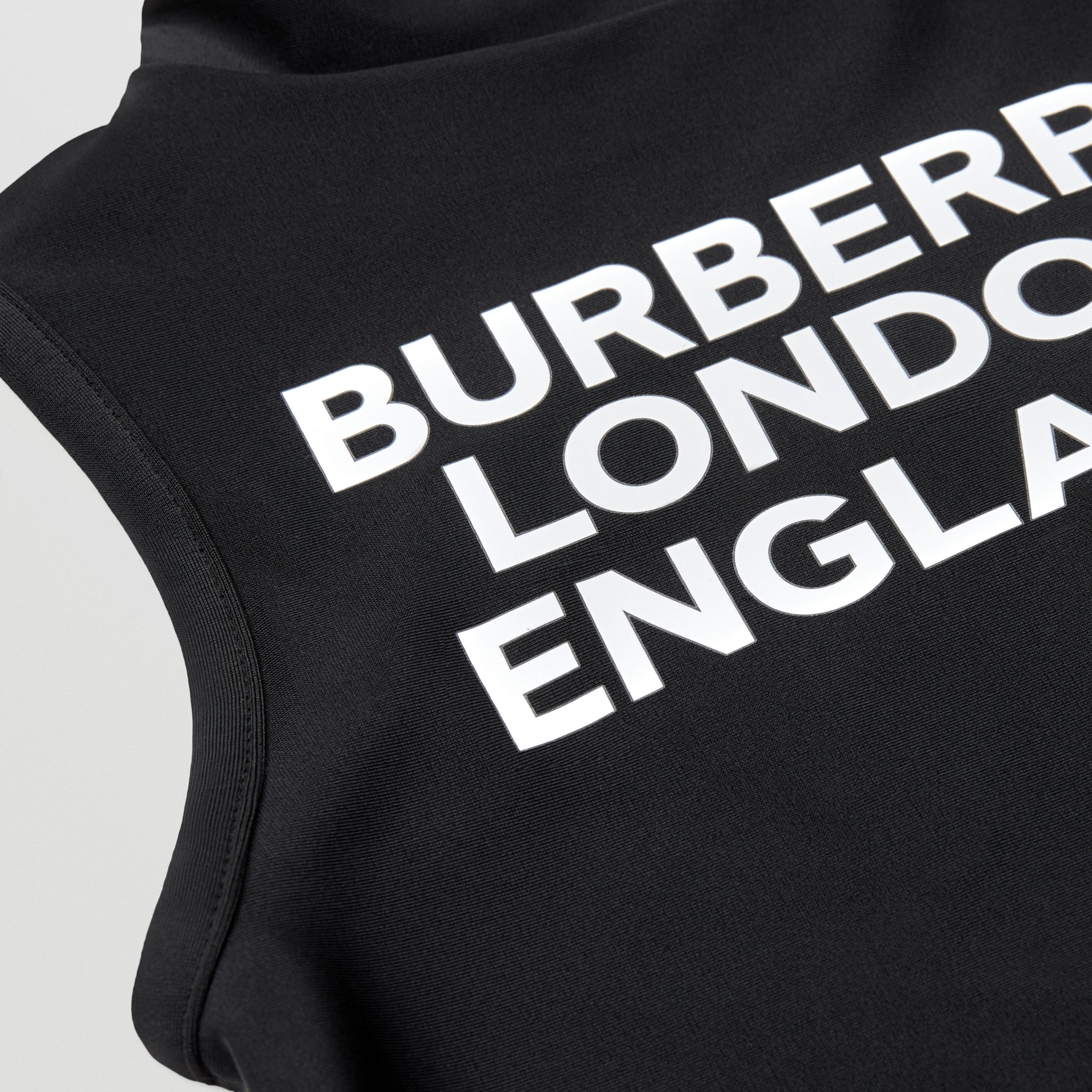 Logo Print One-piece Swimsuit in Black | Burberry Australia - 2