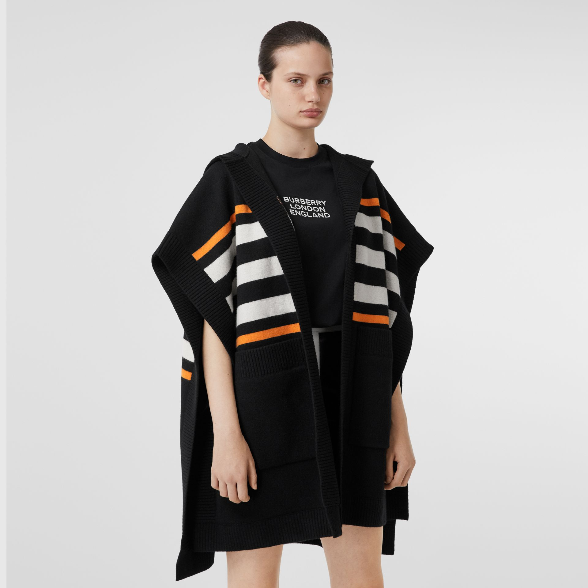 Monogram Motif Intarsia Wool Cashmere Blend Cape in Black - Women | Burberry - gallery image 7