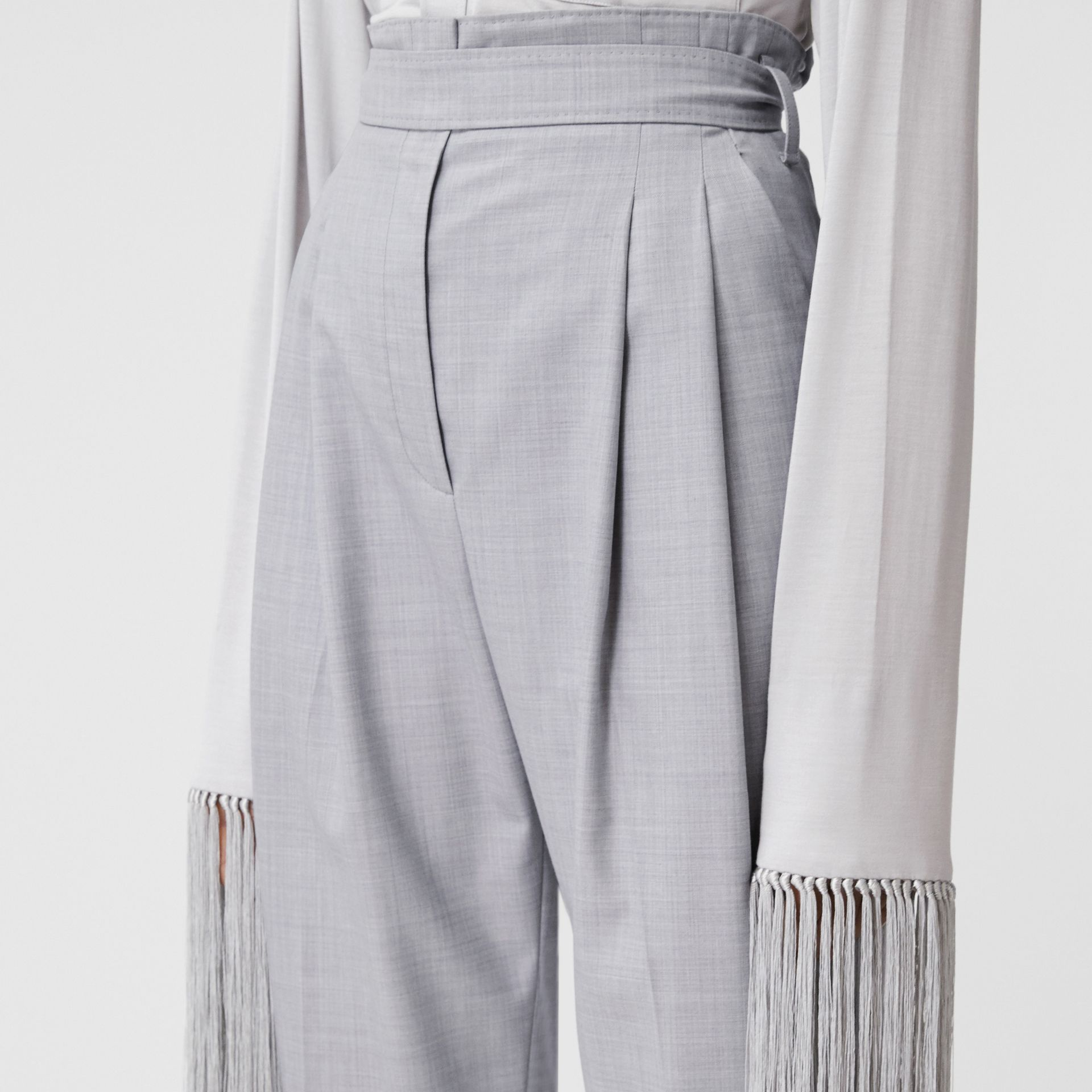 Cut-out Detail Wool Jersey Tailored Trousers in Cloud Grey - Women | Burberry Canada - gallery image 1