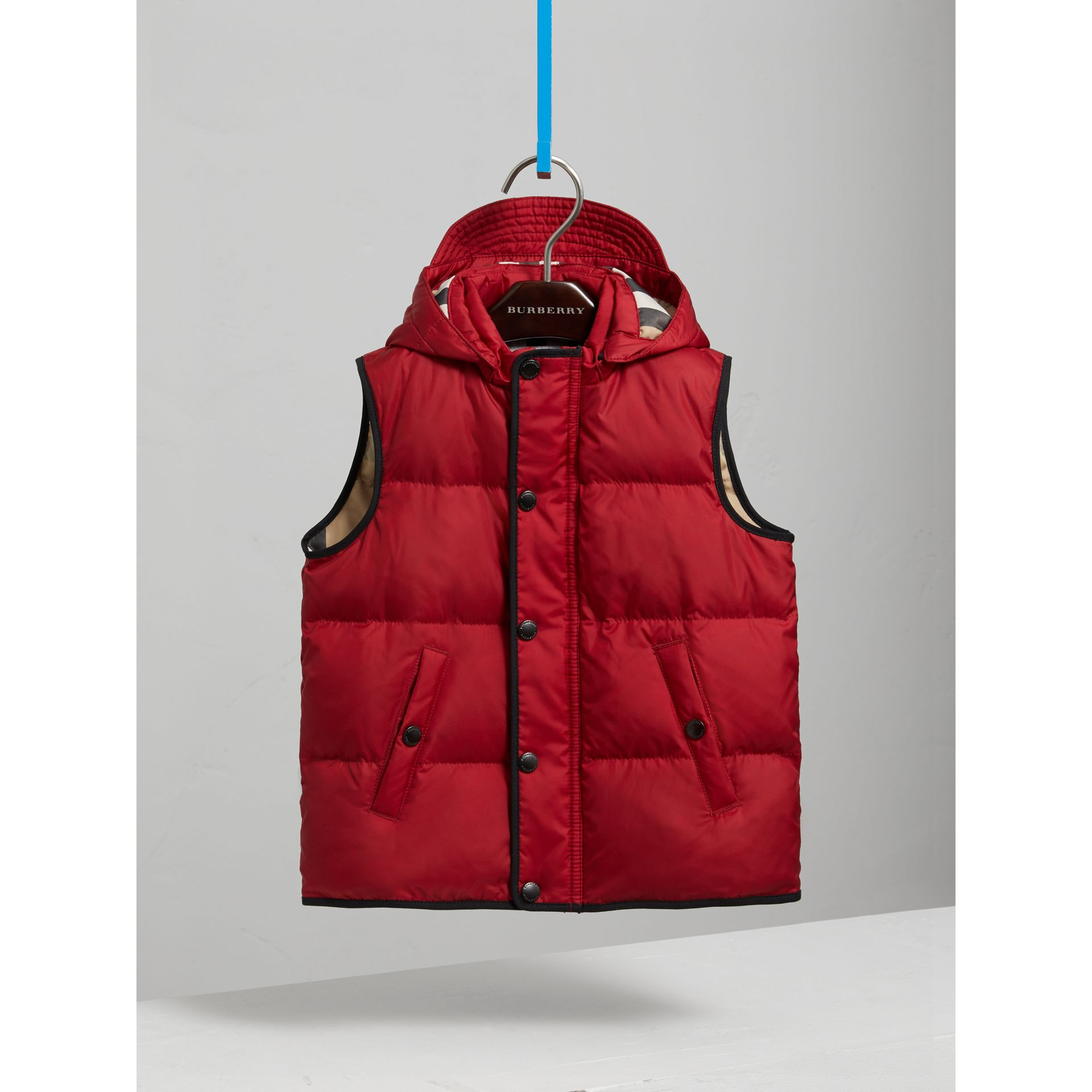 Down-filled Hooded Gilet in Parade Red - Boy | Burberry - gallery image 0