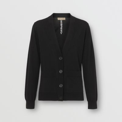 Logo Intarsia Merino Wool Cardigan by Burberry