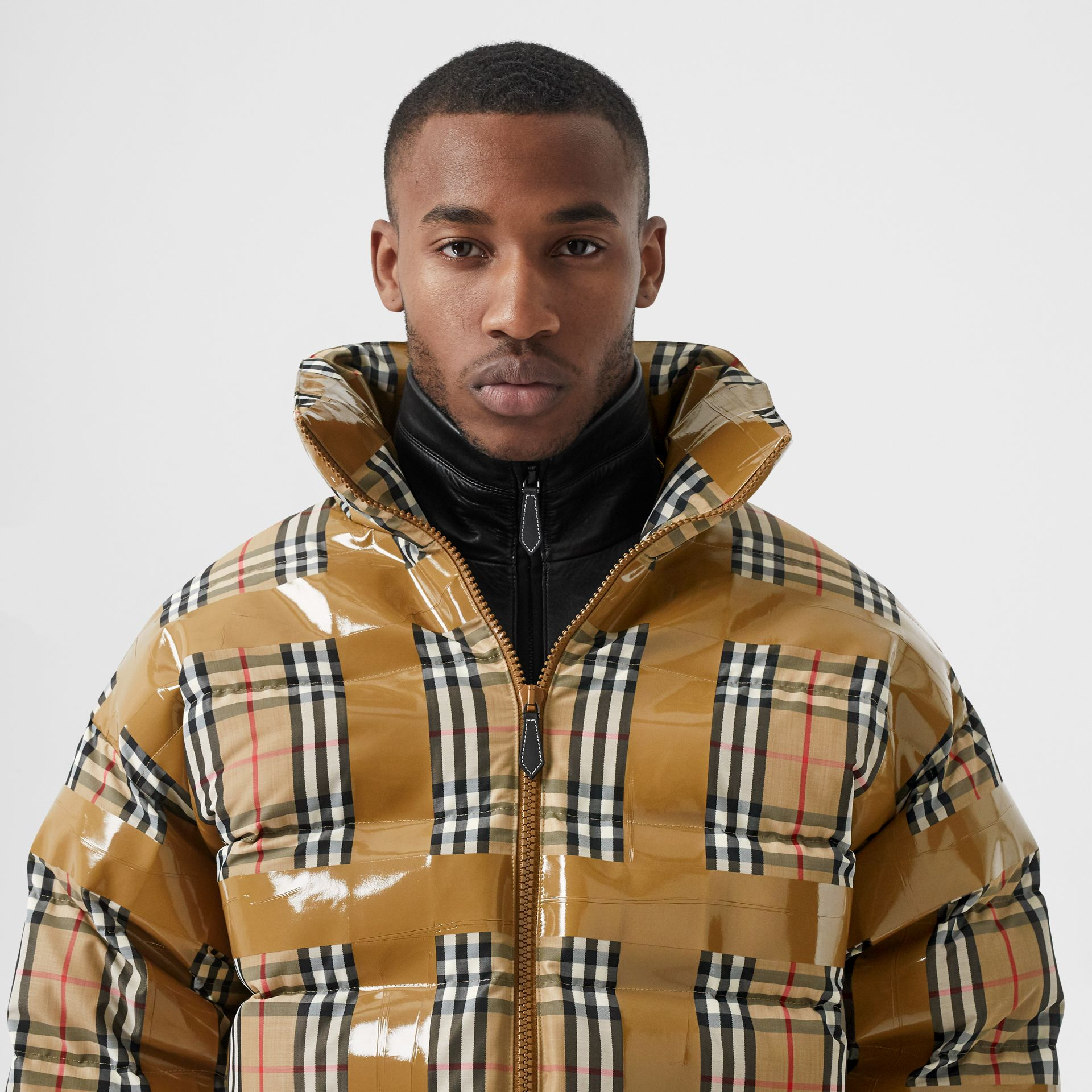 Tape Detail Vintage Check Puffer Jacket in Archive Beige - Men | Burberry - gallery image 6