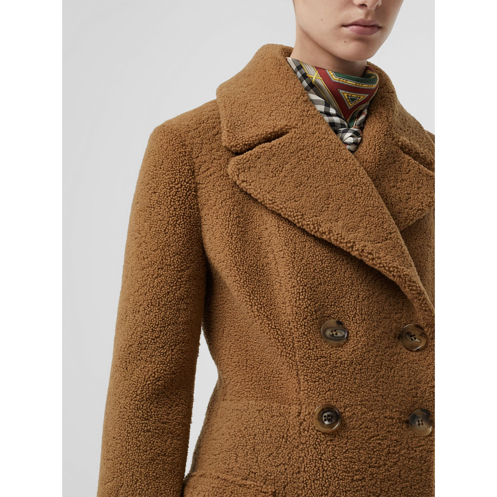 Shearling Tailored Coat in Caramel - Women | Burberry - gallery image 4