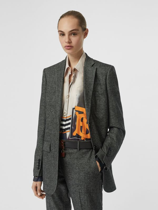 Wool Cashmere Tweed Tailored Jacket in Black Melange - Women | Burberry - cell image 3