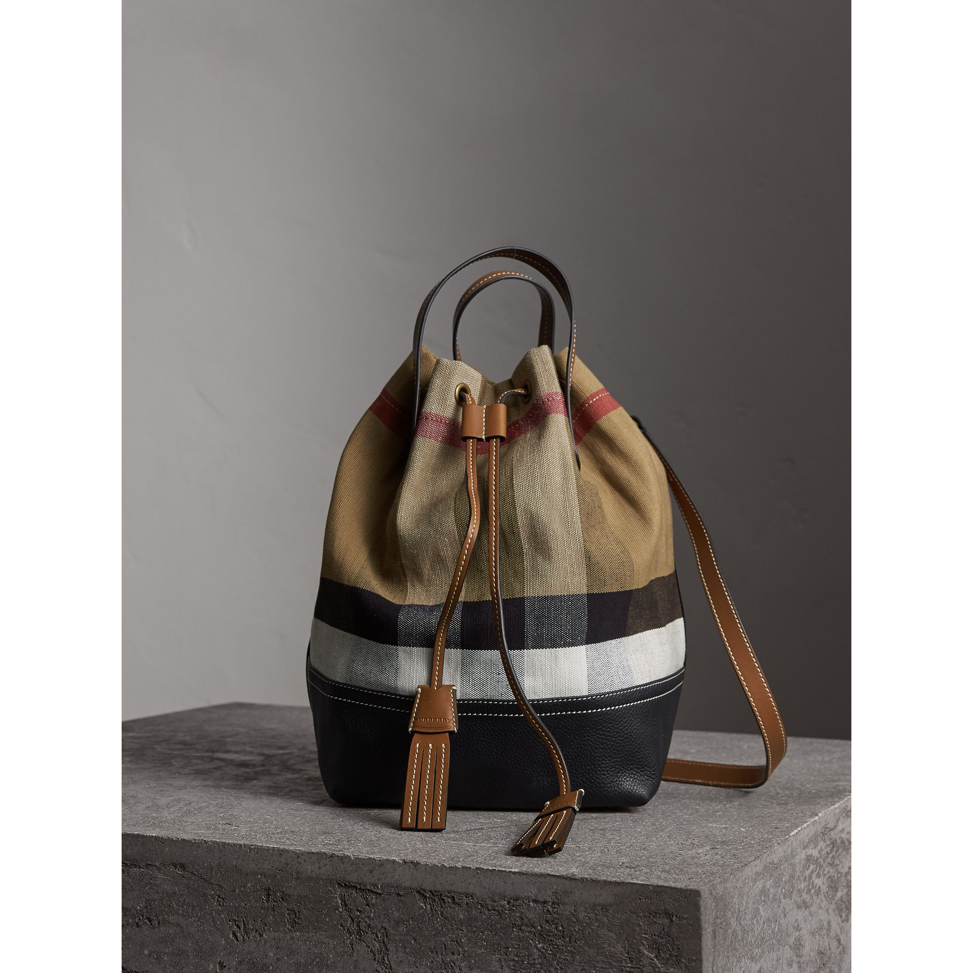 Medium Canvas Check Bucket Bag in Tan - Women | Burberry - gallery image 1