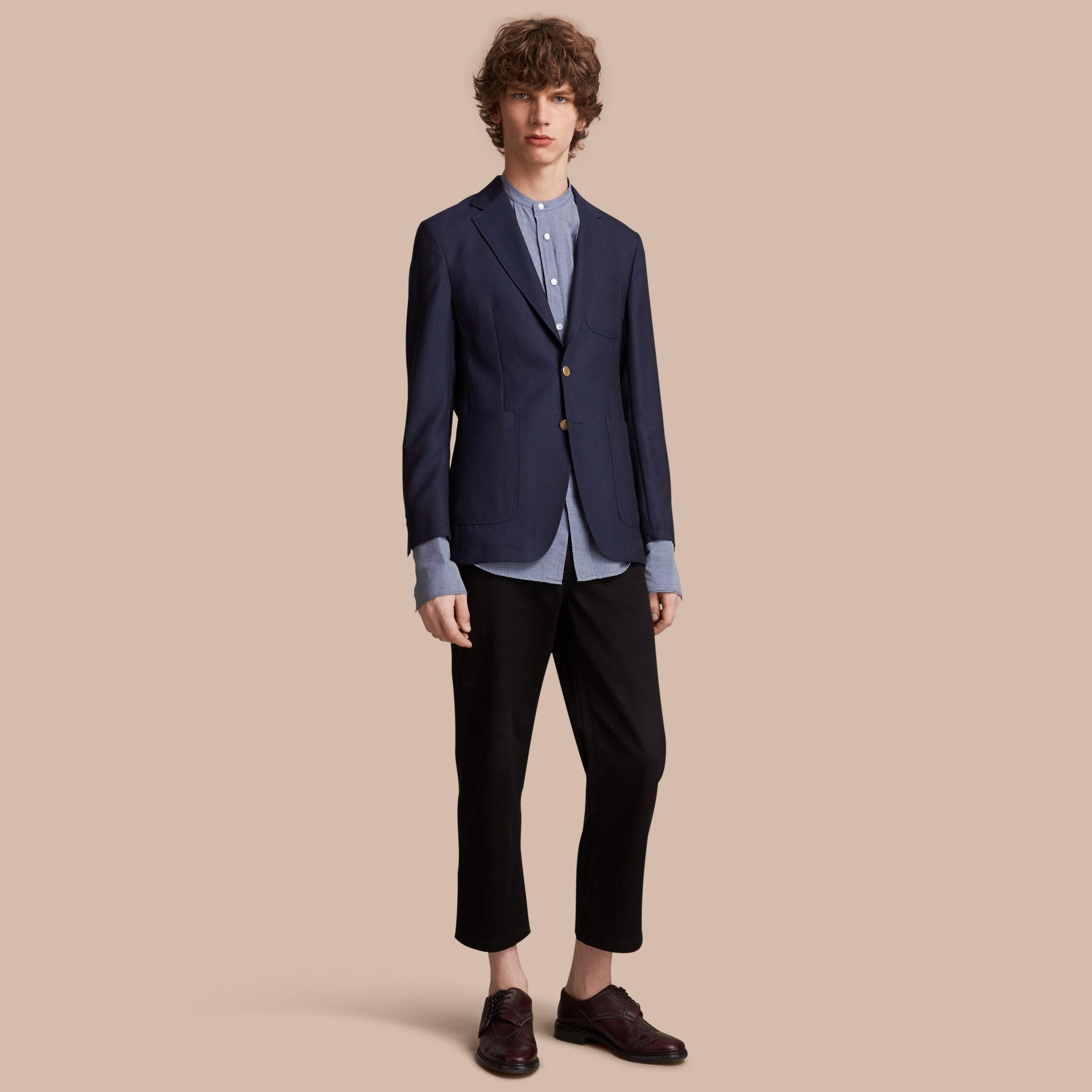 Slim Fit Wool Hopsack Tailored Jacket in Navy - Men | Burberry - gallery image 1
