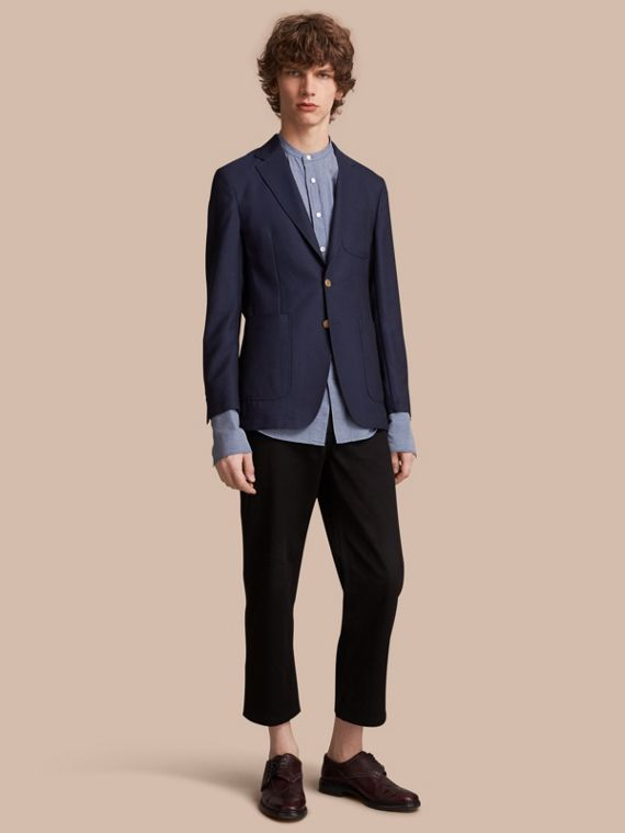 Slim Fit Wool Hopsack Tailored Jacket - Men | Burberry Australia