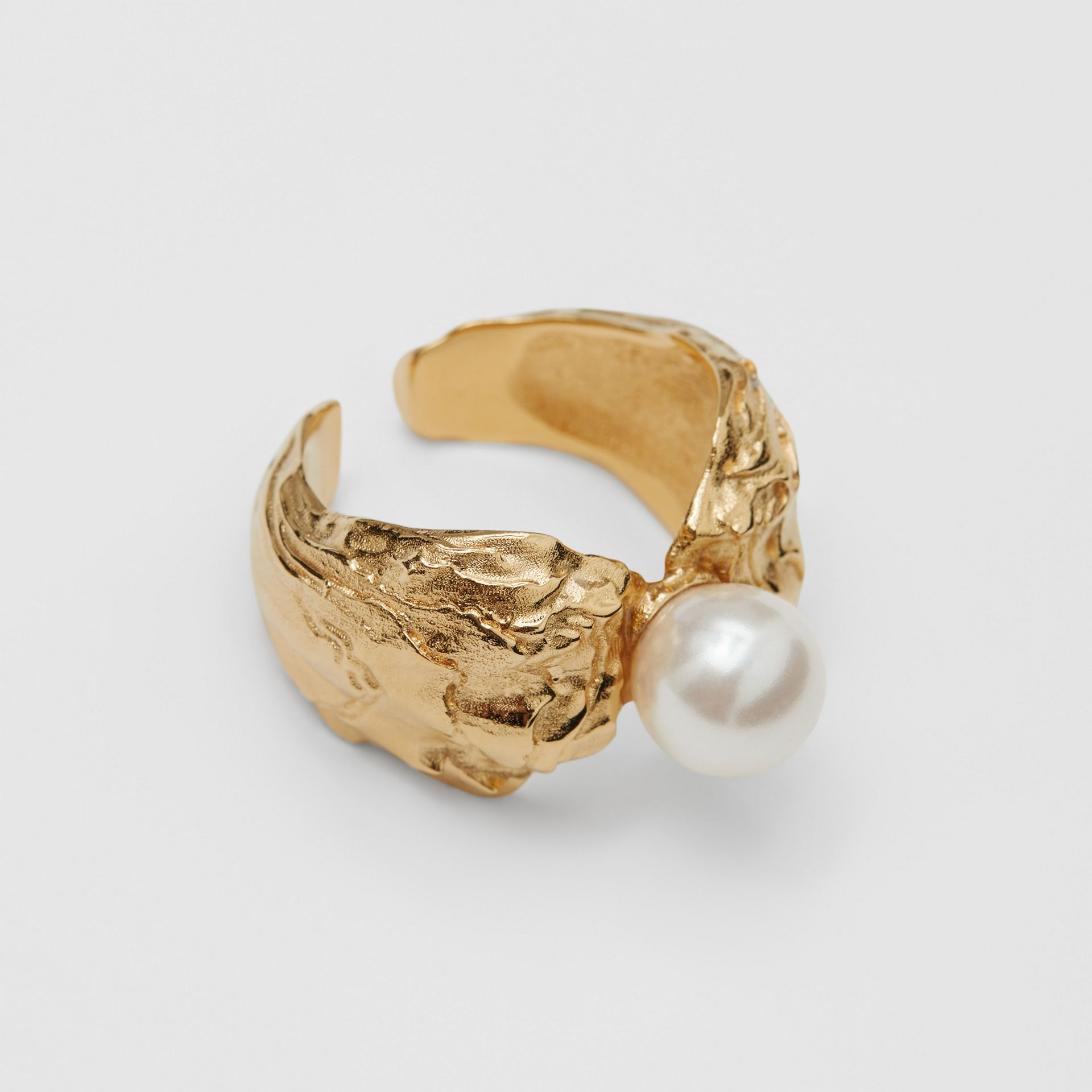 Gold-plated Resin Pearl Ring in Light Gold/pearl | Burberry Australia - gallery image 4