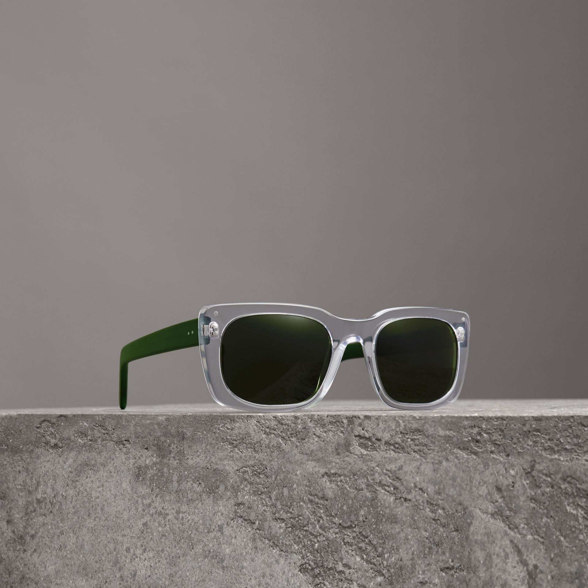 Square Frame Sunglasses in Crystal - Women | Burberry United States - gallery image 0