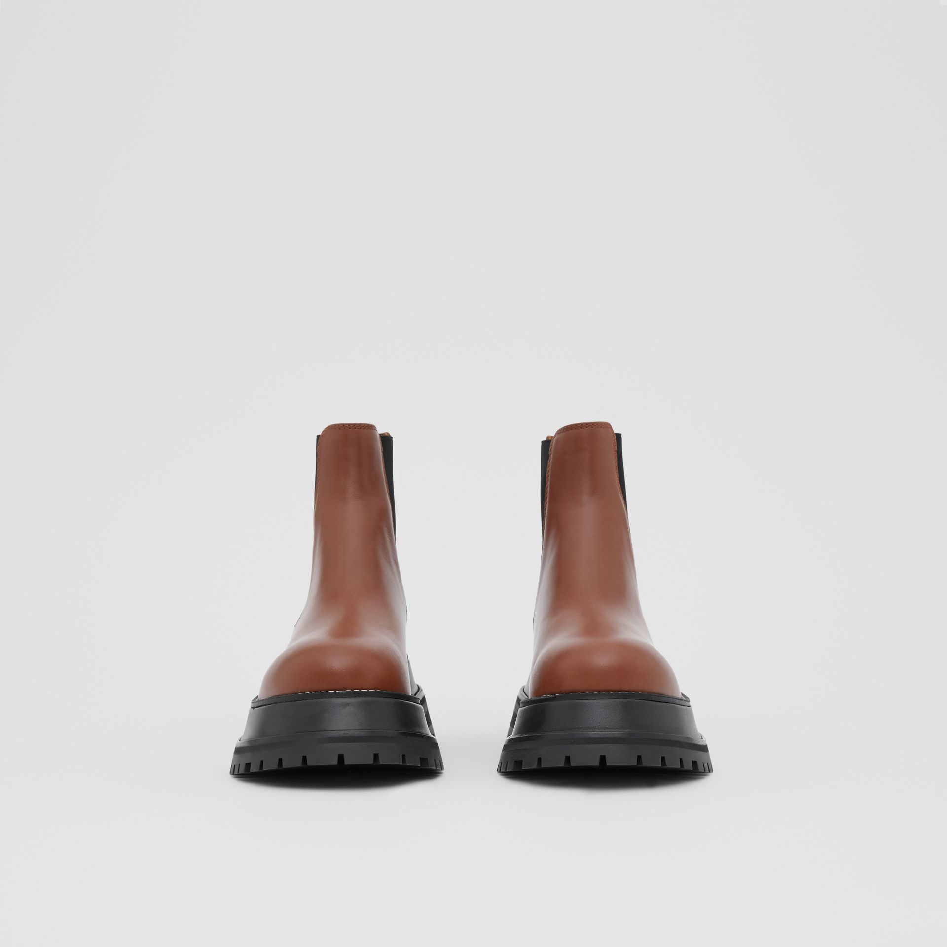 Leather Chelsea Boots in Tan - Women | Burberry - gallery image 3