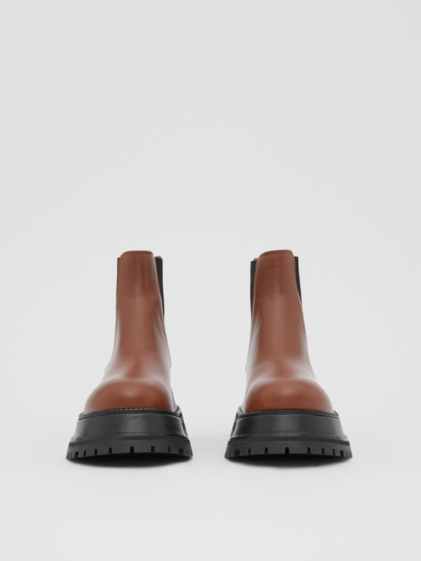 Leather Chelsea Boots in Tan - Women | Burberry - cell image 3