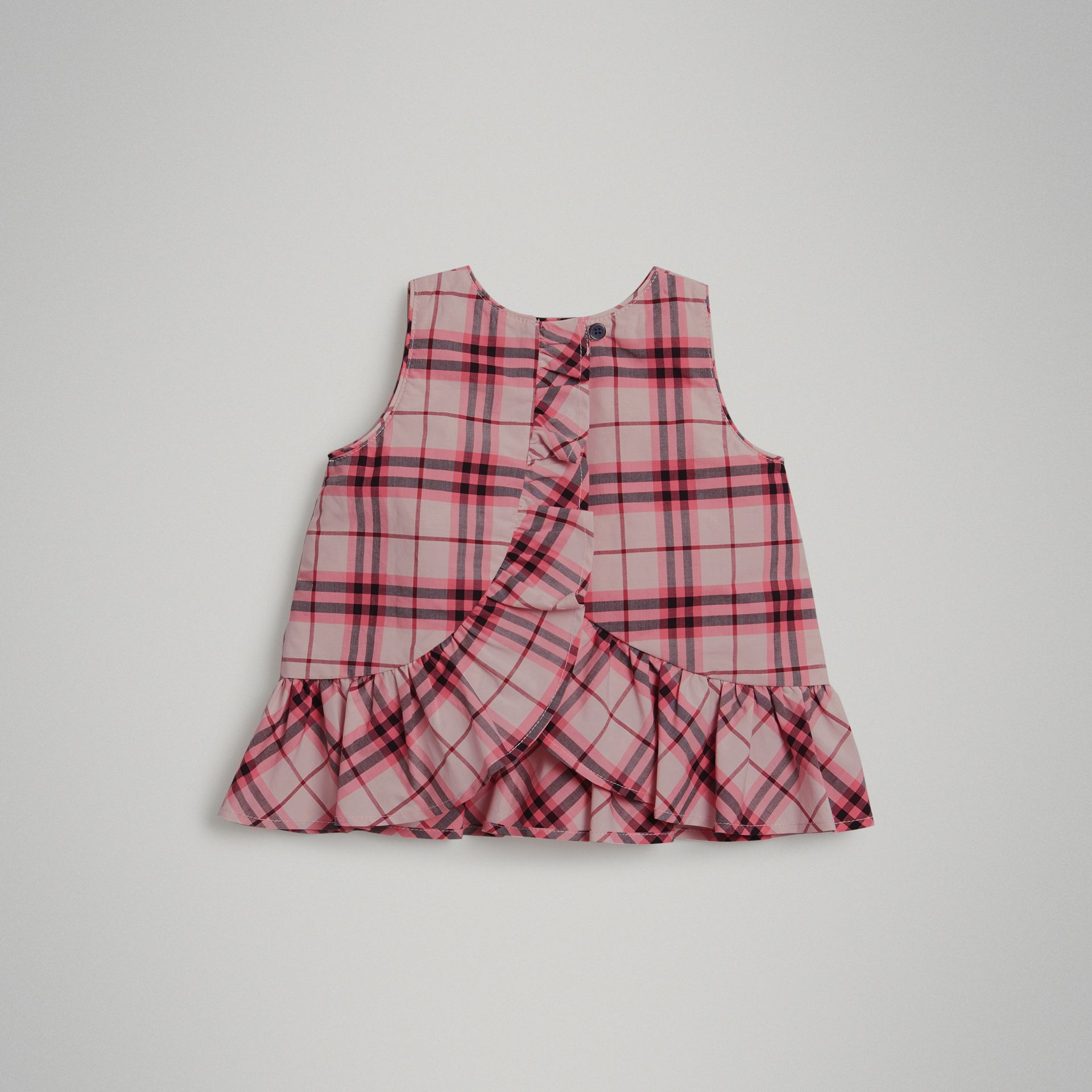 Haut en coton à motif check avec volants (Rose Vif) - Enfant | Burberry Canada - photo de la galerie 2