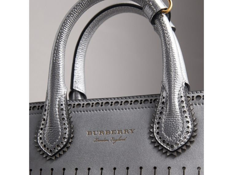The Small Banner in Brogue Detail Metallic Leather in Silver - Women | Burberry - cell image 1