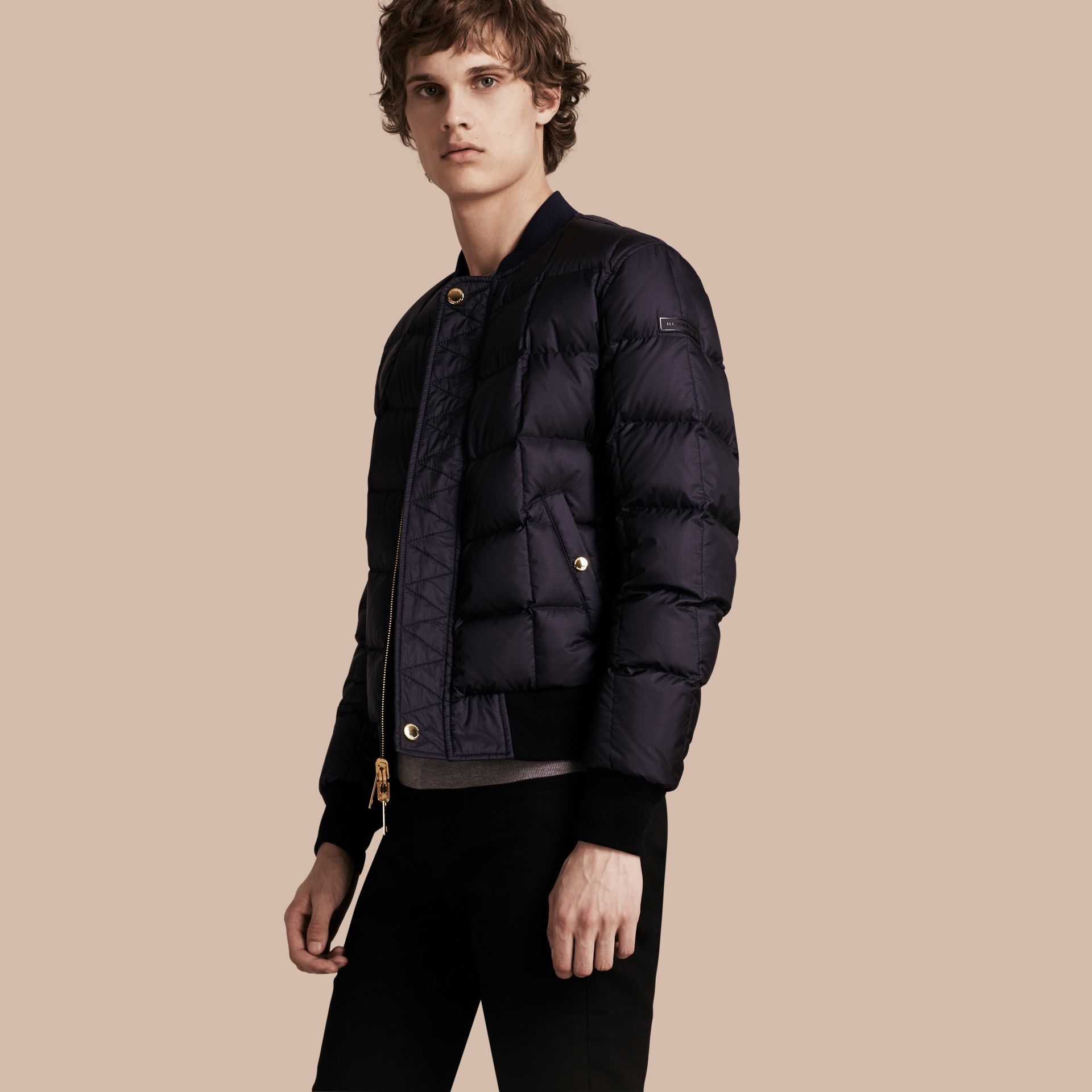 Navy Reversible Down-filled Bomber Jacket - gallery image 1