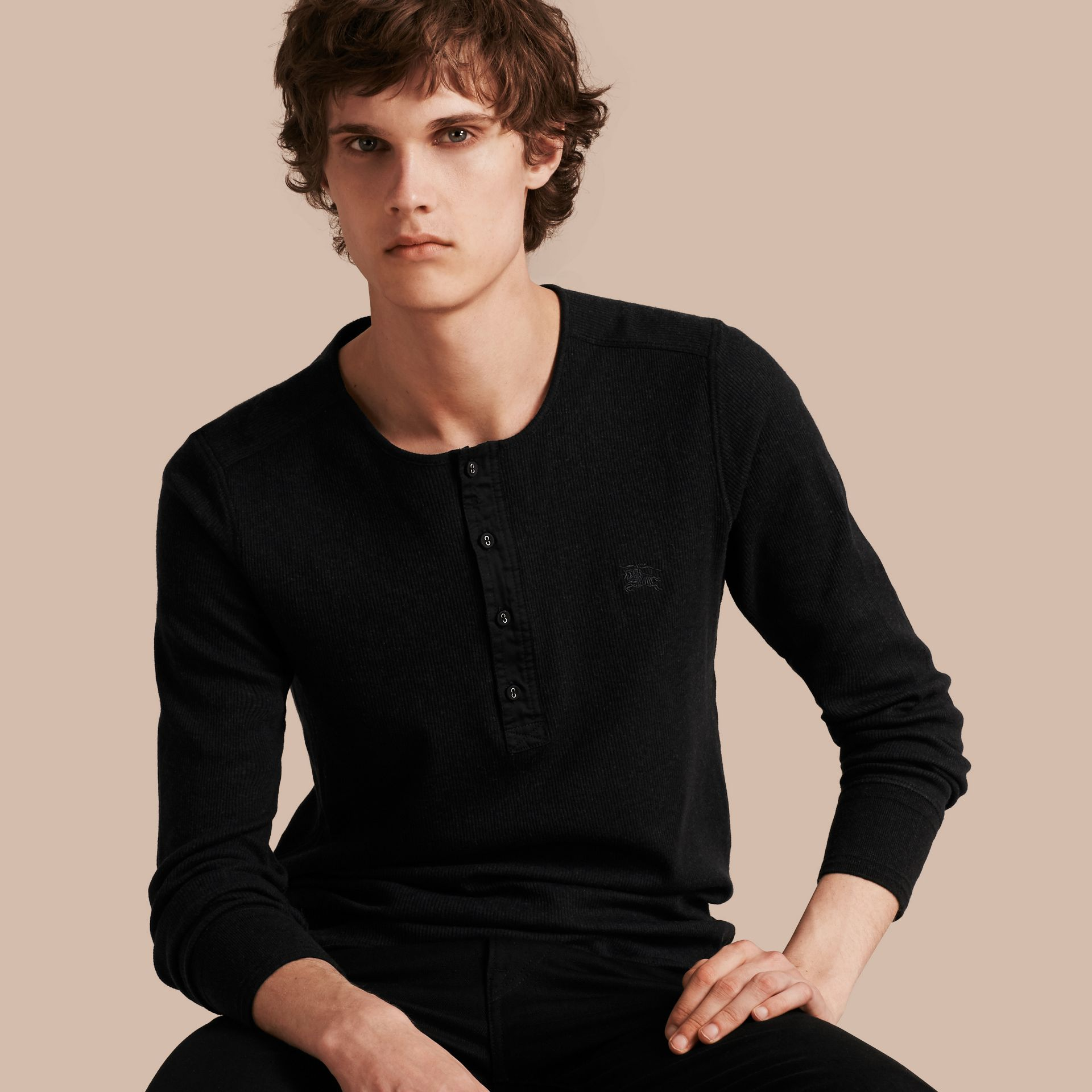 Black Ribbed Cotton Wool Henley Top Black - gallery image 1