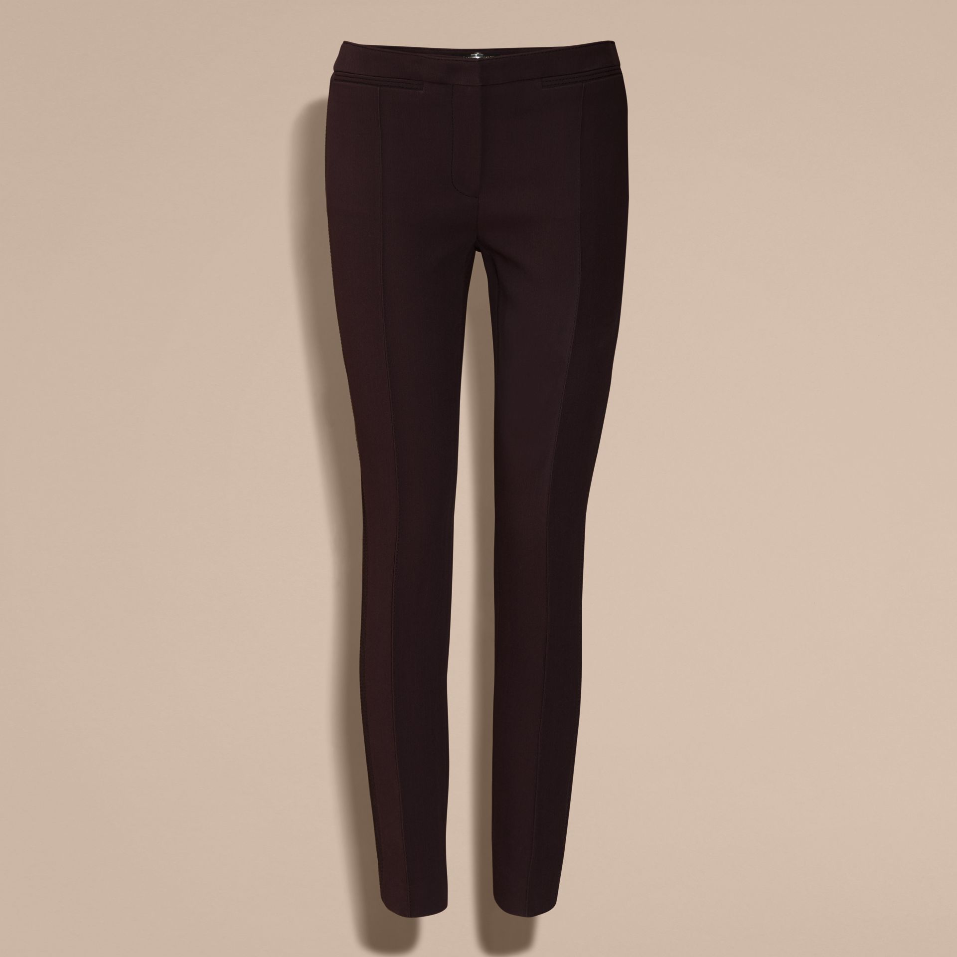 Dark elderberry Wool Silk Straight Leg Trousers Dark Elderberry - gallery image 4